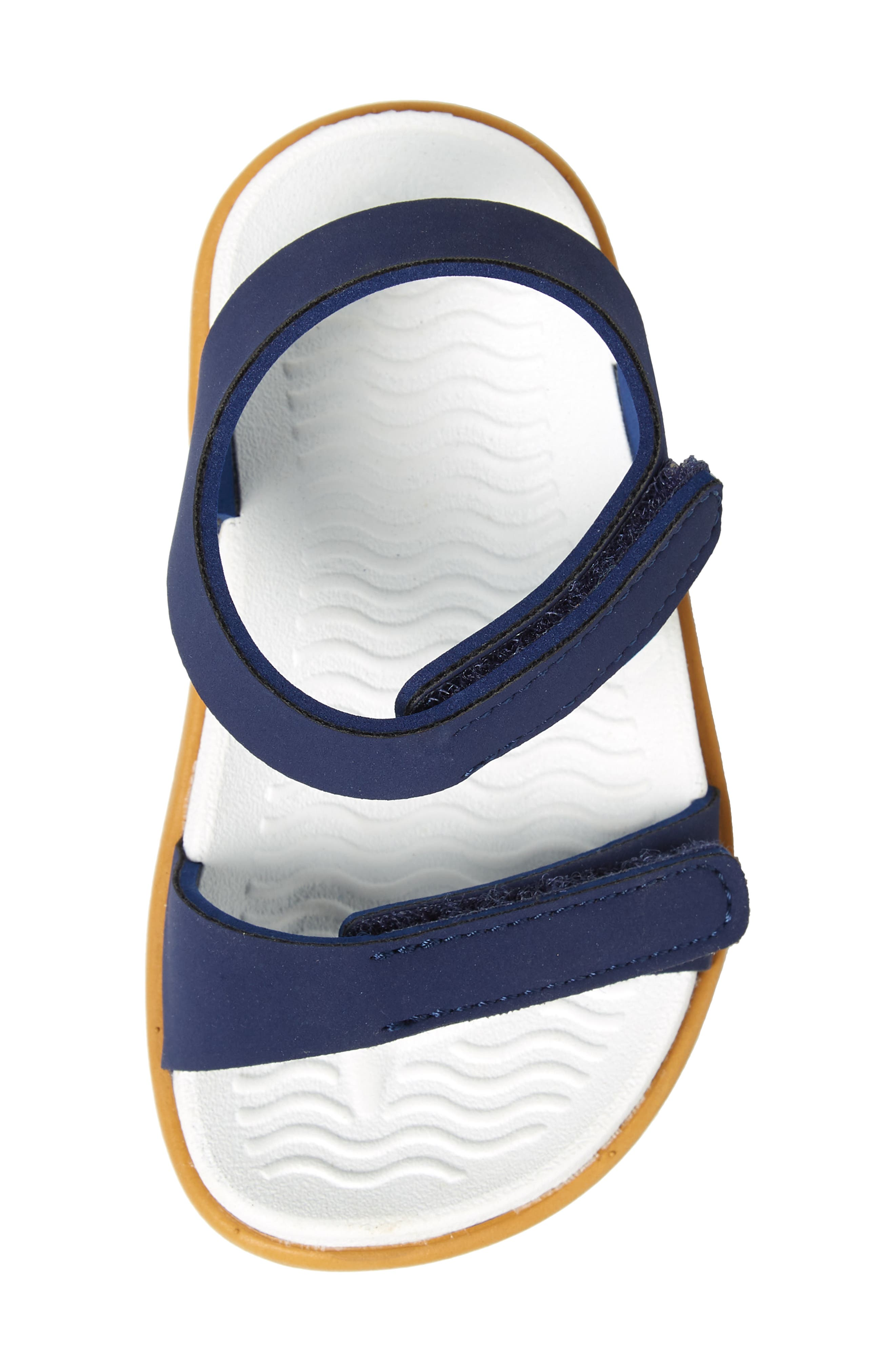 NATIVE SHOES, Charley Child Waterproof Flat Vegan Sandal, Alternate thumbnail 5, color, REGATTA BLUE/ WHITE/ BROWN