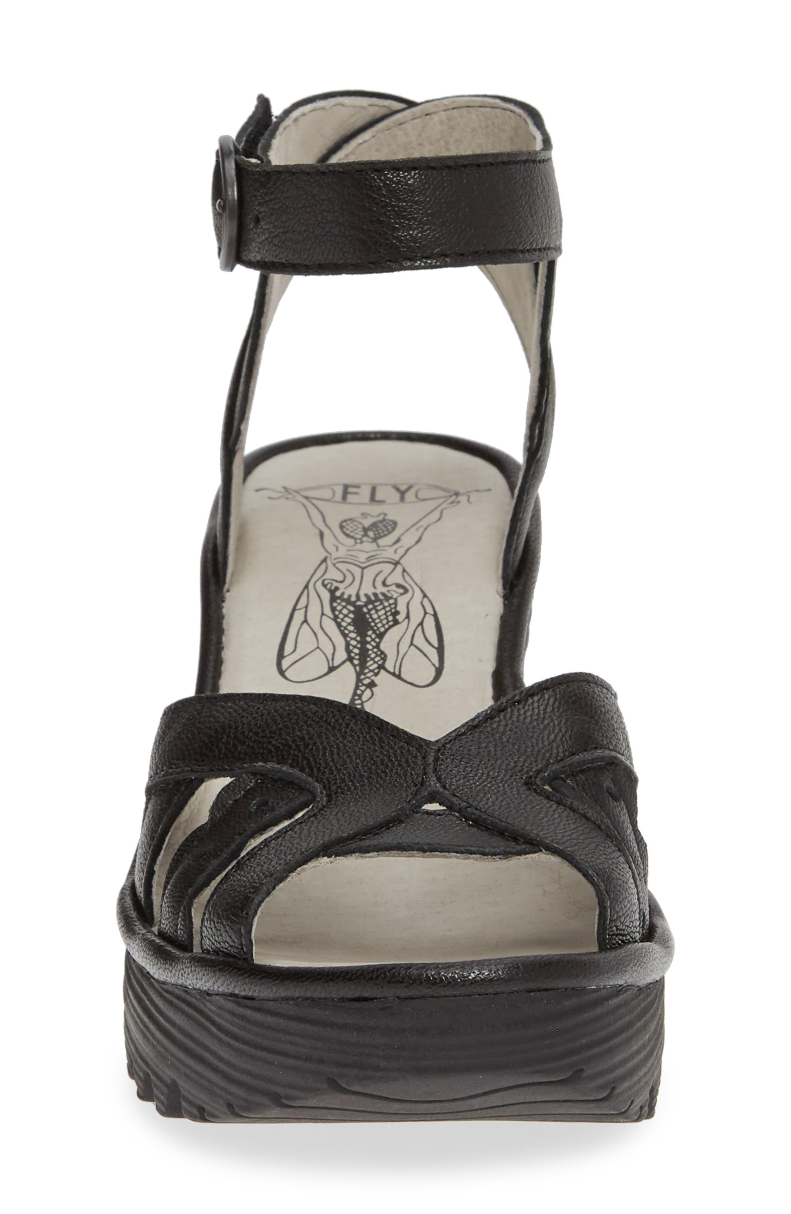 FLY LONDON, Yrat Wedge Sandal, Alternate thumbnail 4, color, BLACK LEATHER