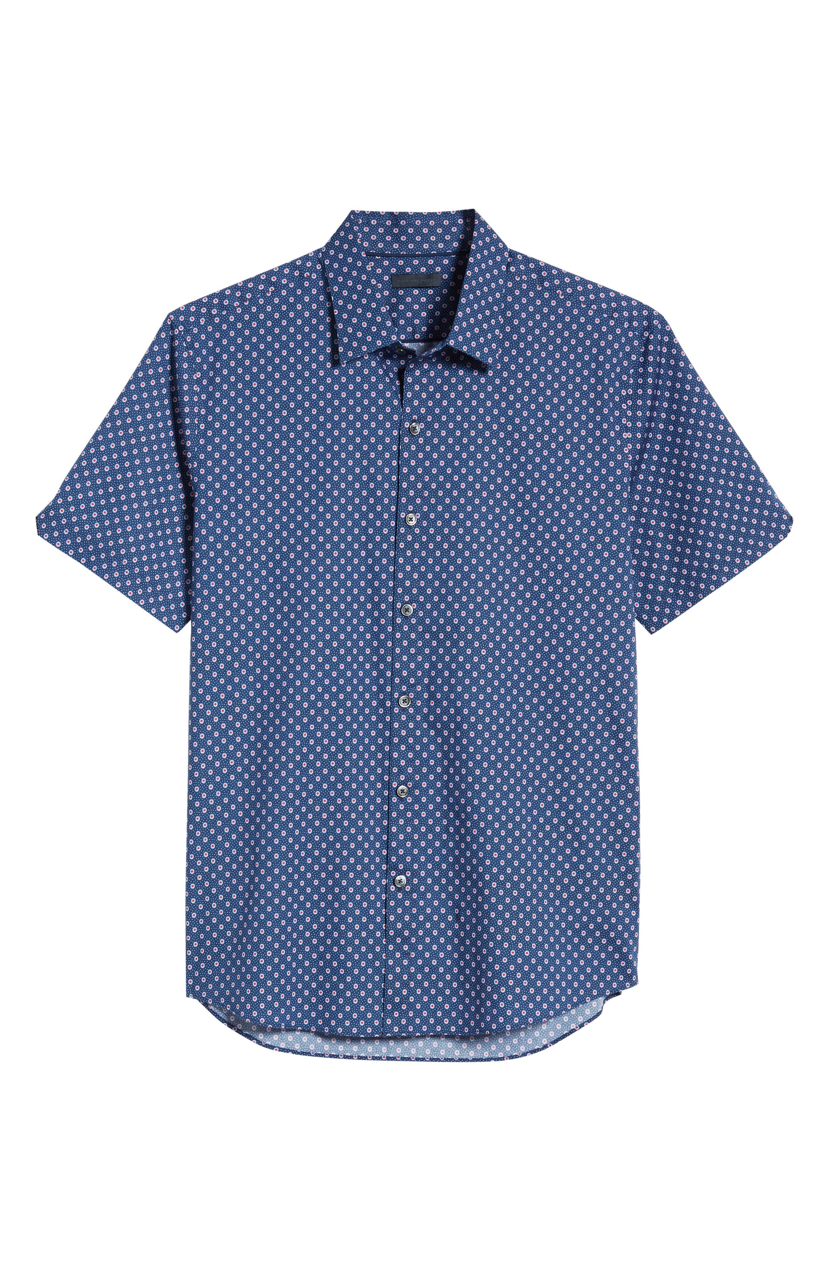 ZACHARY PRELL, Murray Regular Fit Print Sport Shirt, Alternate thumbnail 5, color, BLUE