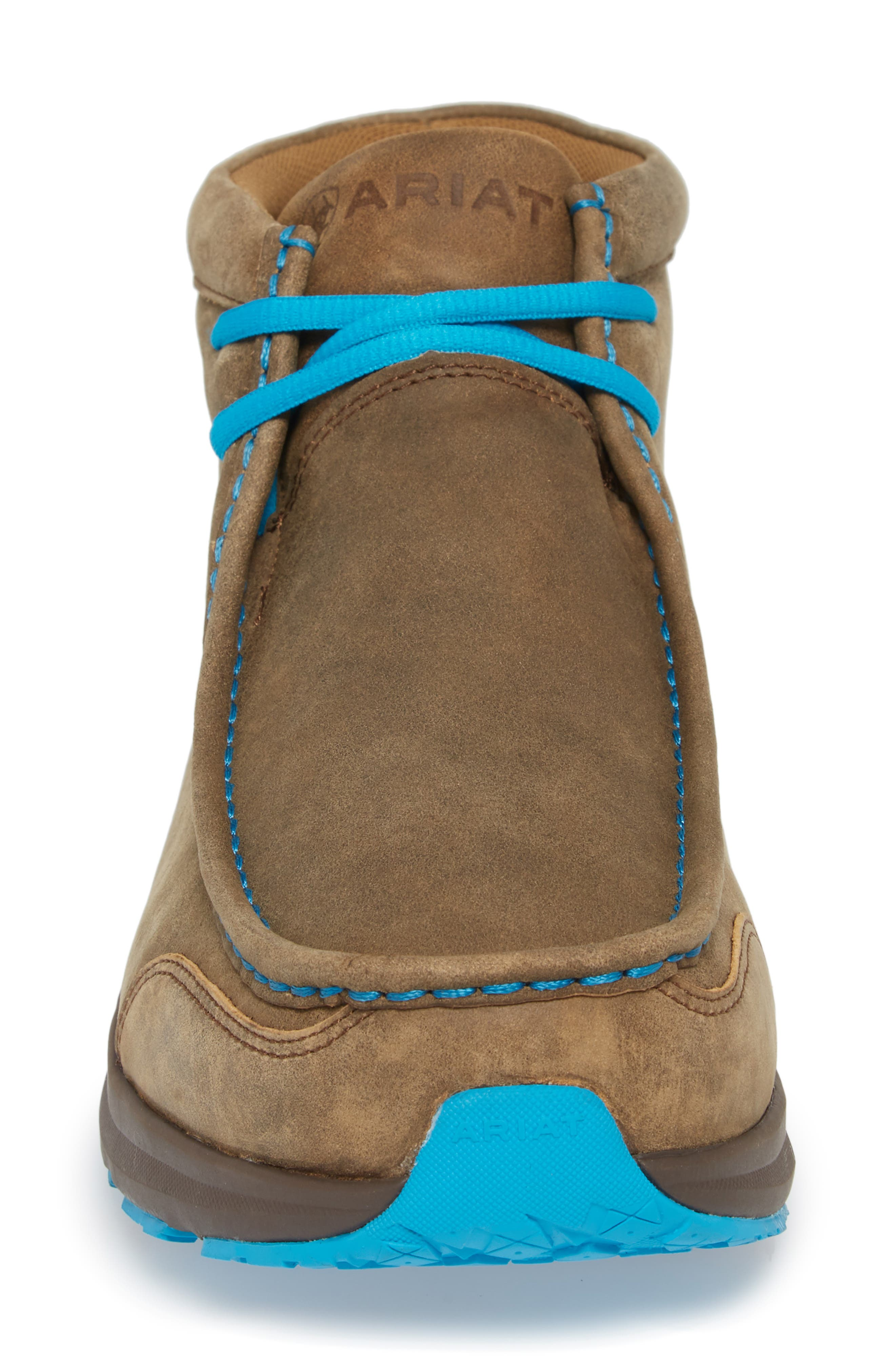 ARIAT, Spitfire Chukka Boot, Alternate thumbnail 4, color, BROWN BOMBER/ BLUE LEATHER