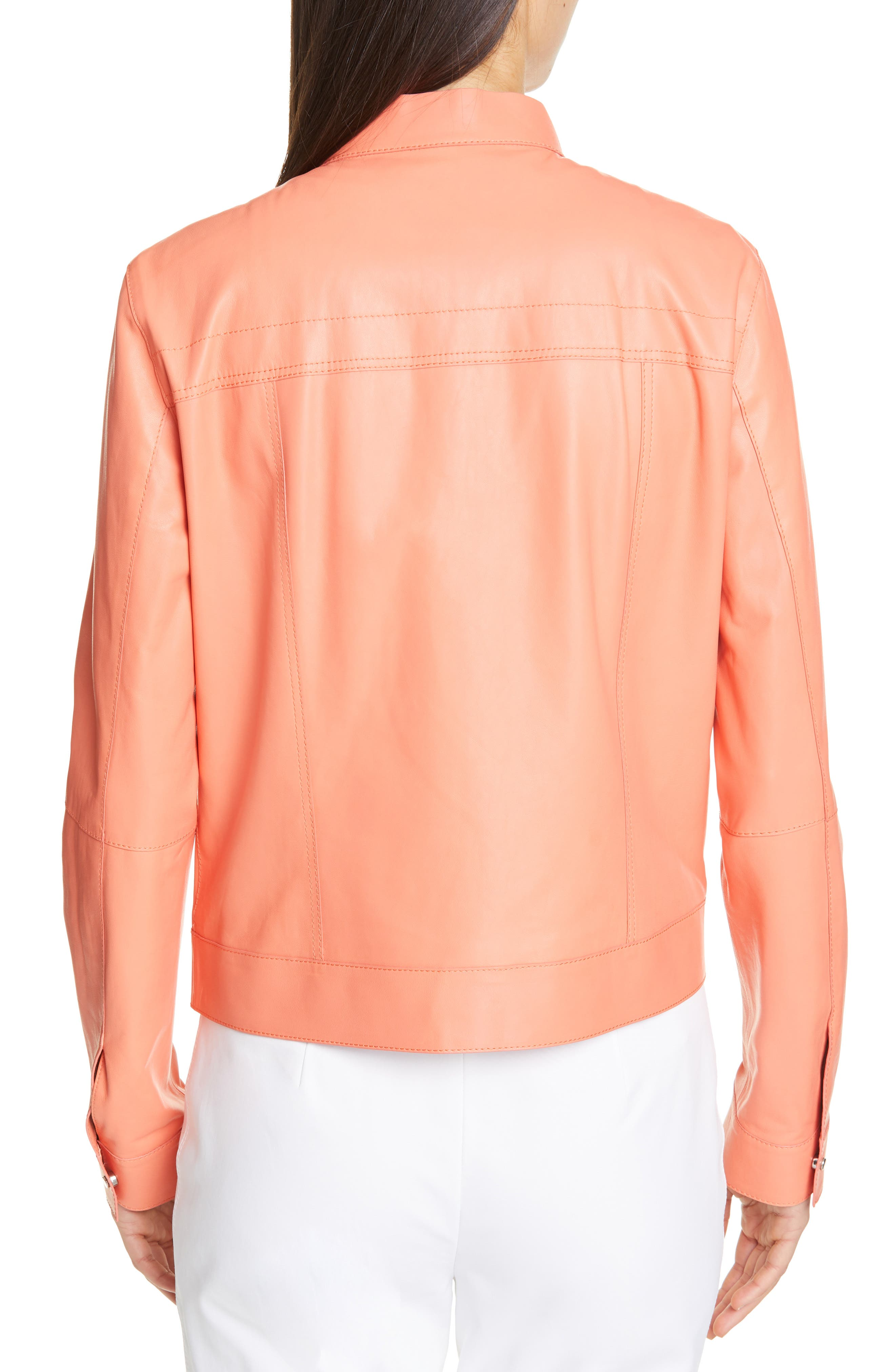 LAFAYETTE 148 NEW YORK, Galicia Leather Jacket, Alternate thumbnail 2, color, PEACH ROSE