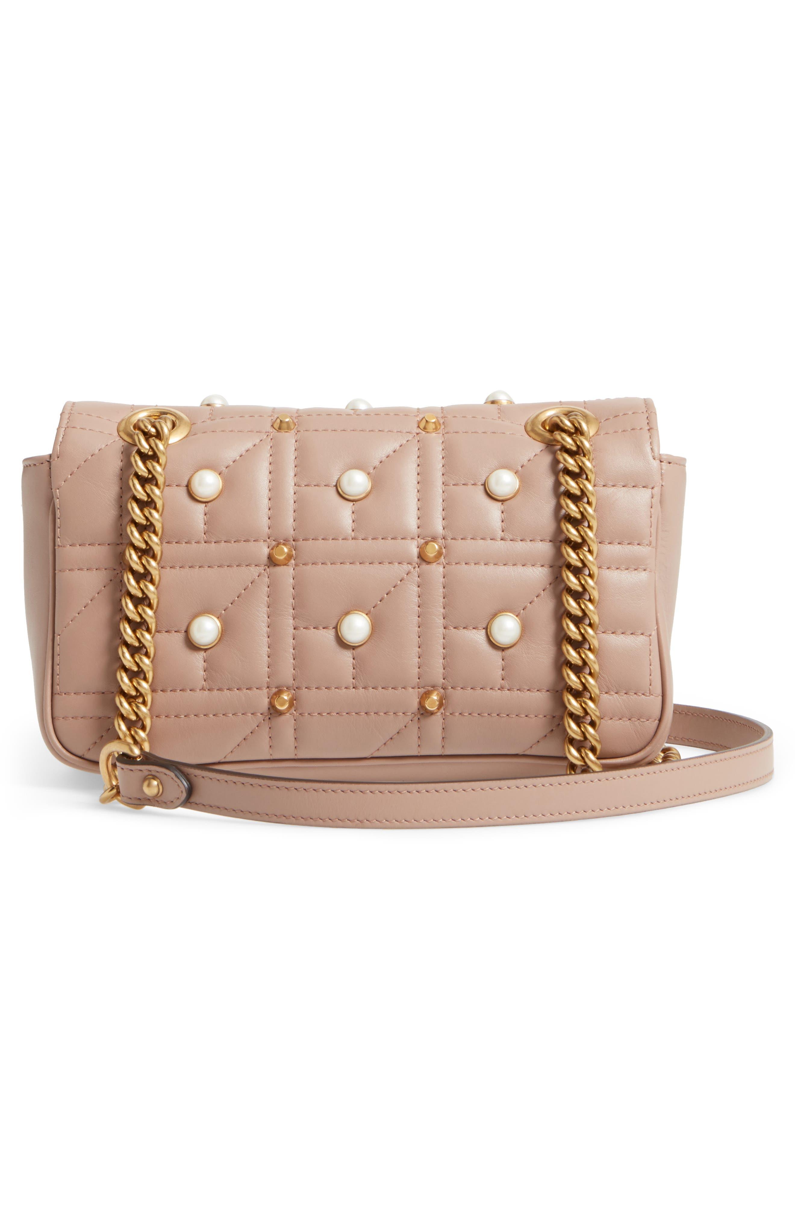 GUCCI, Mini GG Marmont 2.0 Imitation Pearl Logo Matelassé Leather Shoulder Bag, Alternate thumbnail 3, color, 651