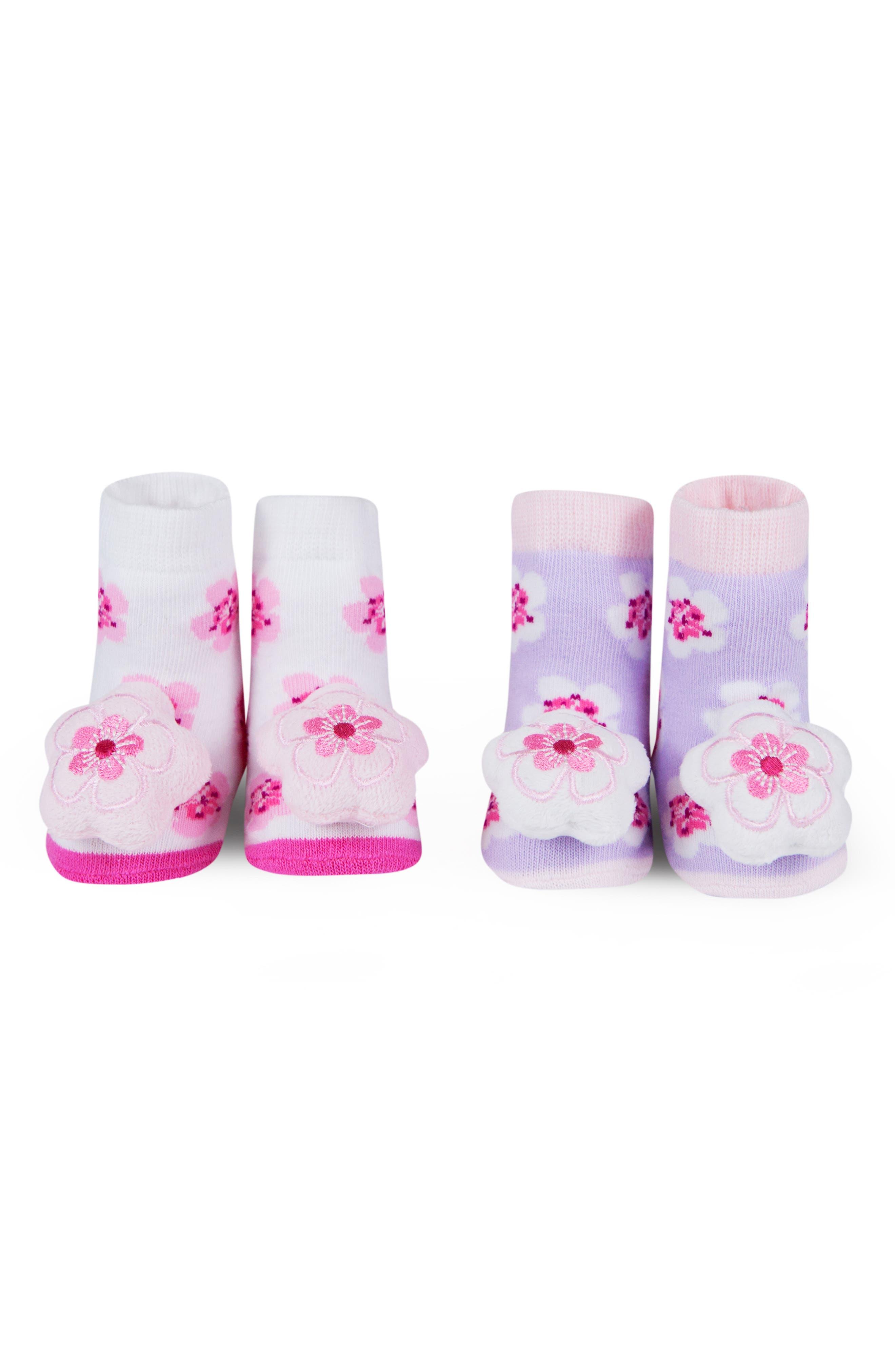 WADDLE, 2-Pack Cherry Blossom Rattle Socks, Alternate thumbnail 2, color, WHITE/ LAVENDER