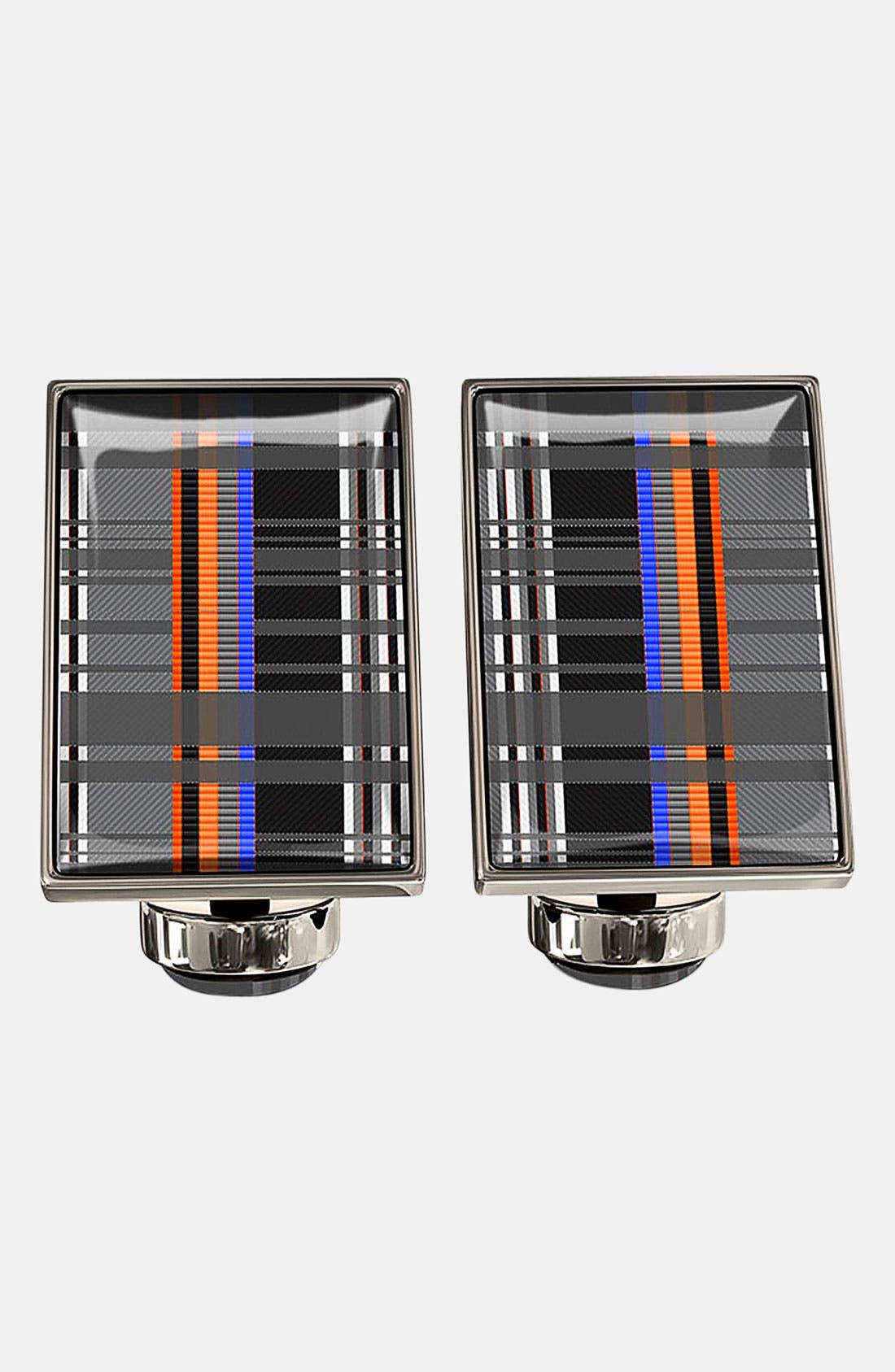 WÜRKIN STIFFS Plaid Rectangular Cuff Links, Main, color, 086
