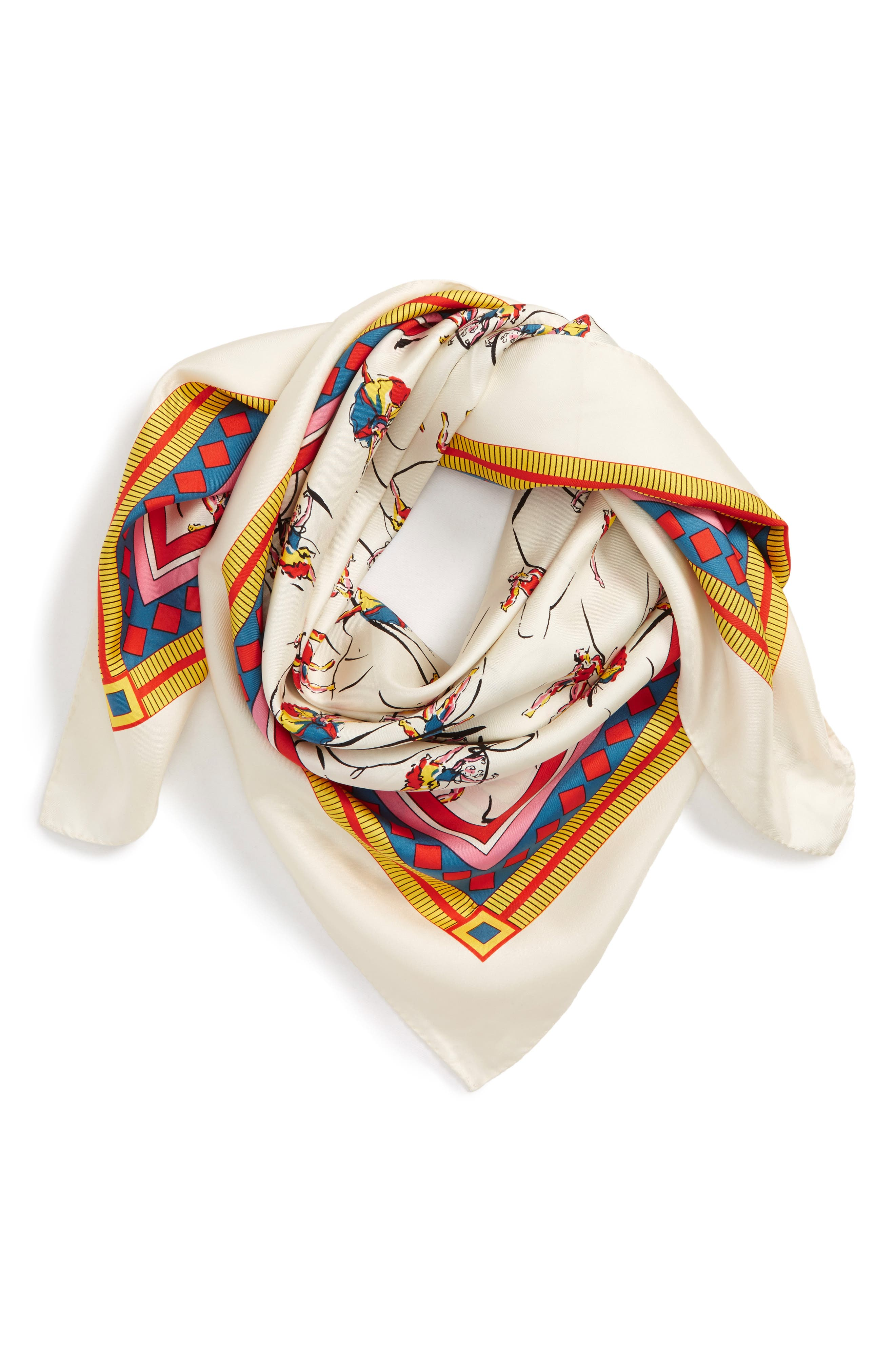 TORY BURCH, Dancers Silk Square Scarf, Main thumbnail 1, color, 900