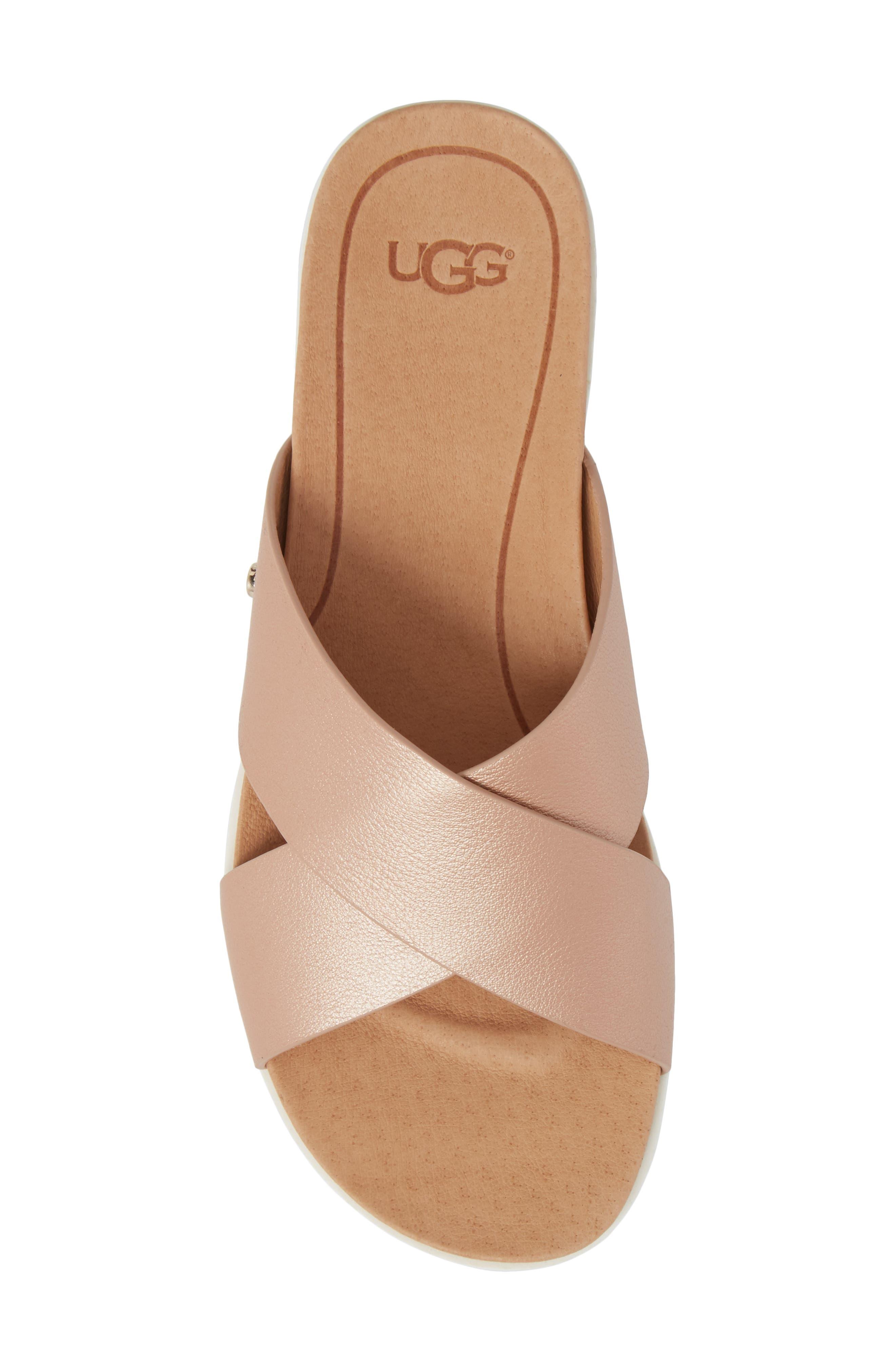 UGG<SUP>®</SUP>, Kari Slide Sandal, Alternate thumbnail 5, color, ROSE GOLD LEATHER