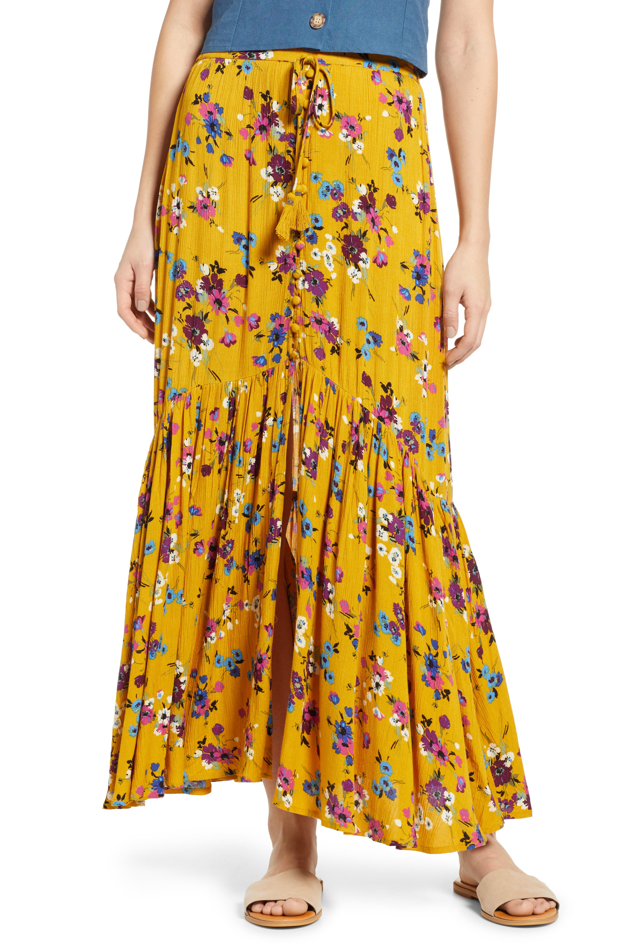 BAND OF GYPSIES, Marseille Button Front Maxi Skirt, Main thumbnail 1, color, 700