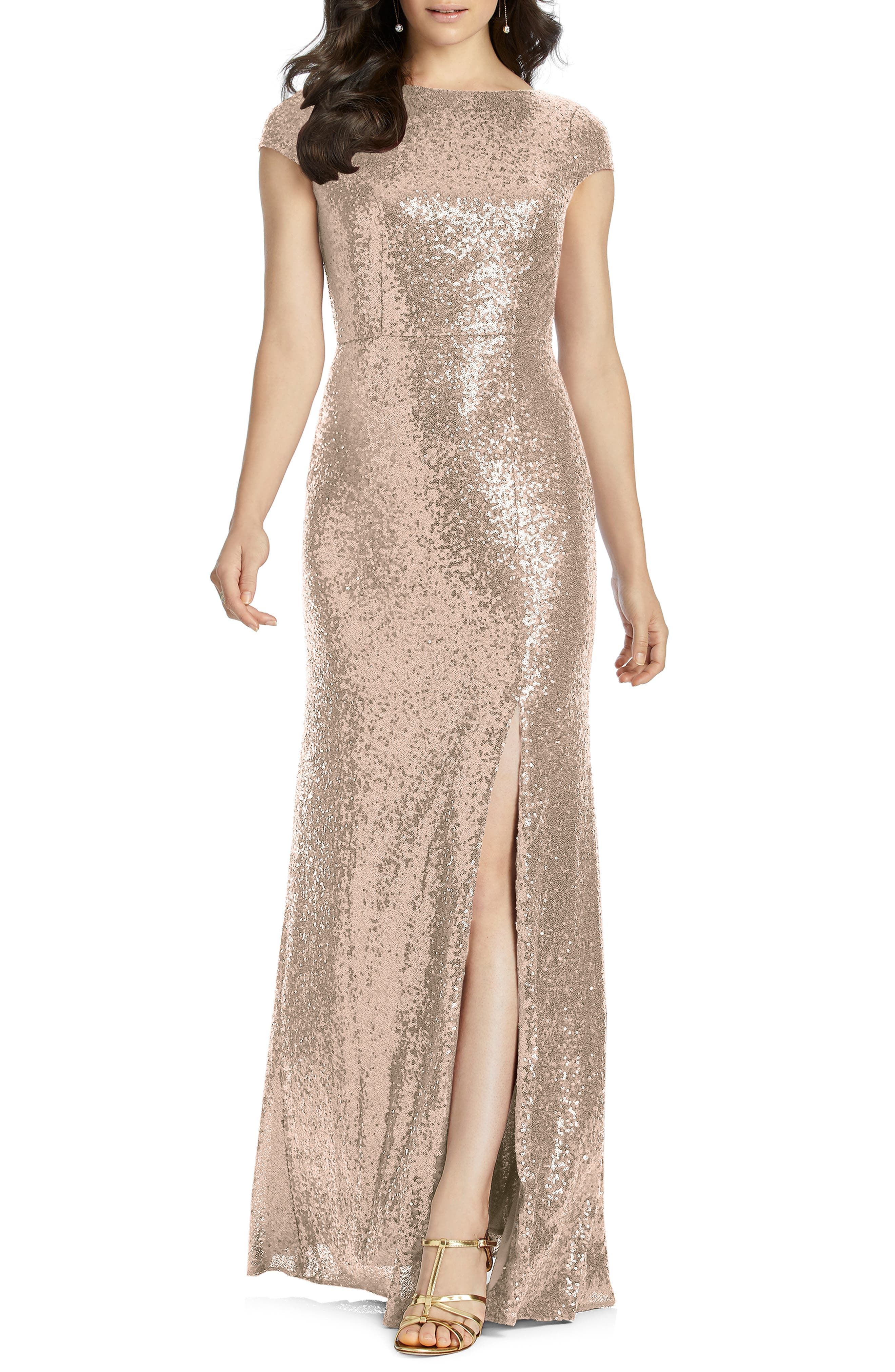 DESSY COLLECTION, Elle Cap Sleeve Sequin Gown, Main thumbnail 1, color, ROSE GOLD
