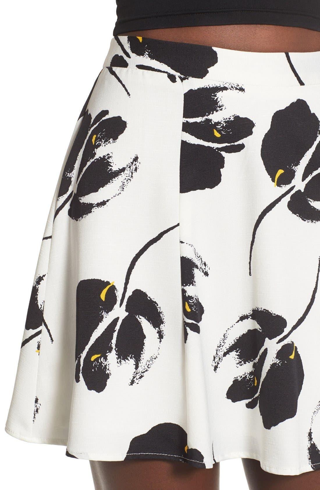 ---, Floral Print Miniskirt, Alternate thumbnail 2, color, 100