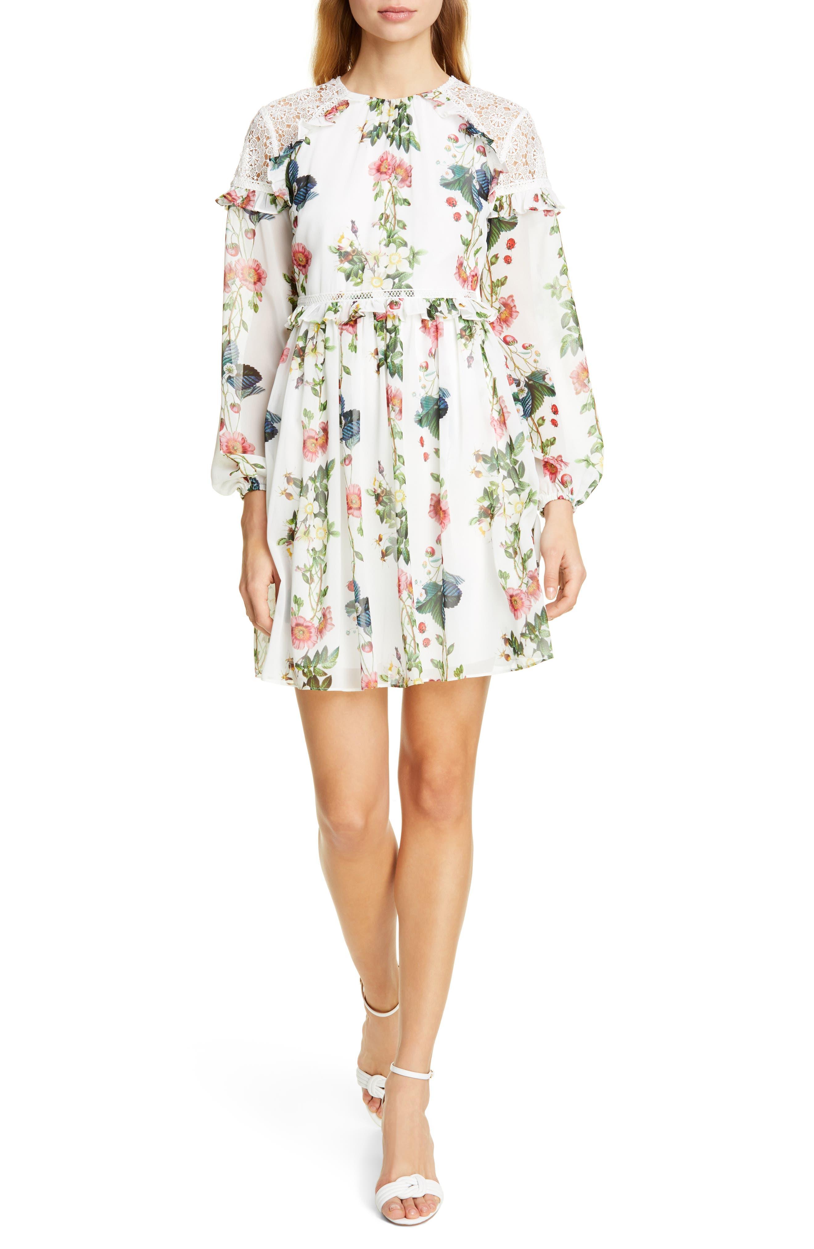 Ted Baker London Maryam Oracle Long Sleeve Dress, White