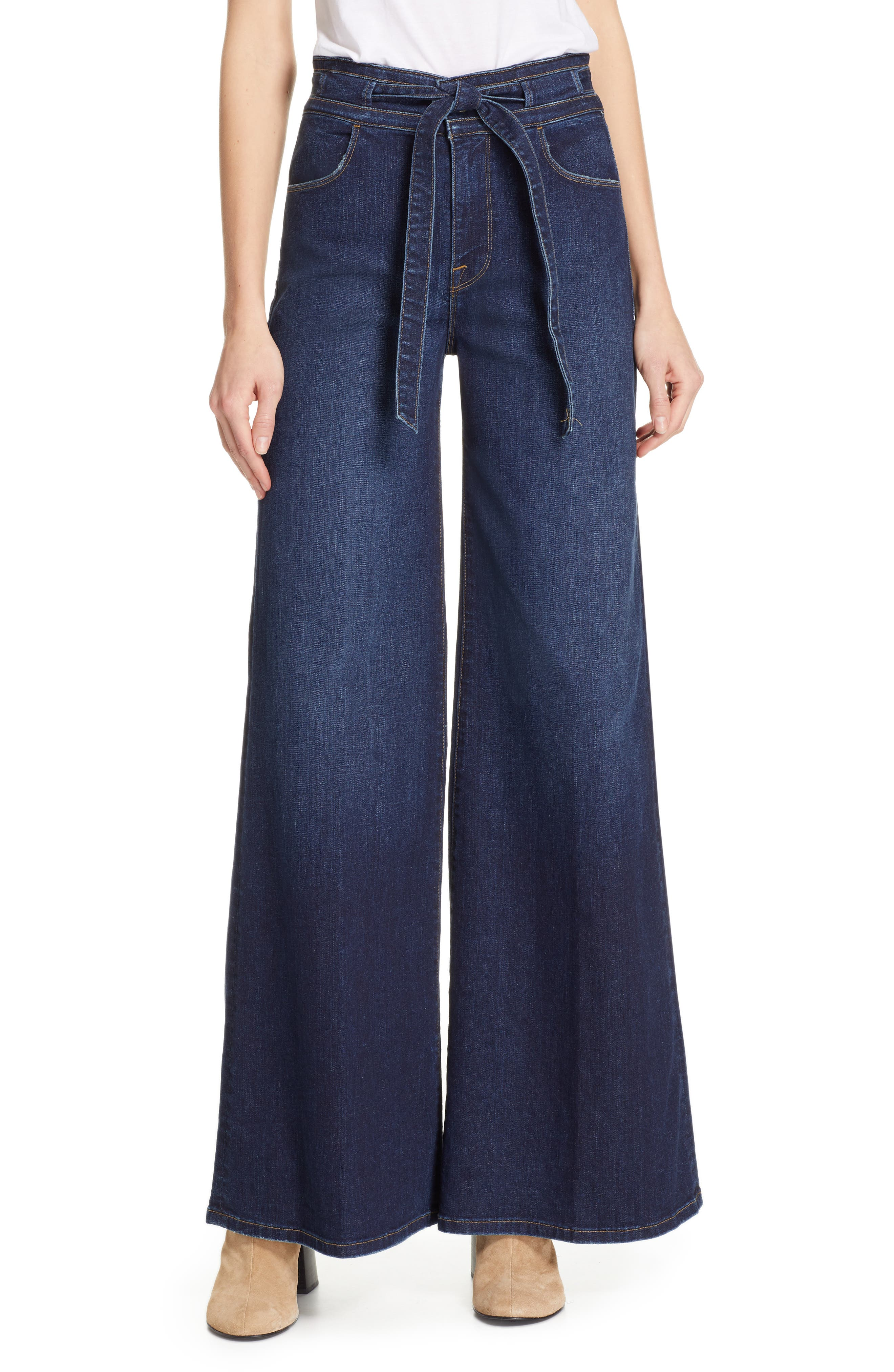 FRAME, Belted Palazzo Jeans, Main thumbnail 1, color, MERIBO