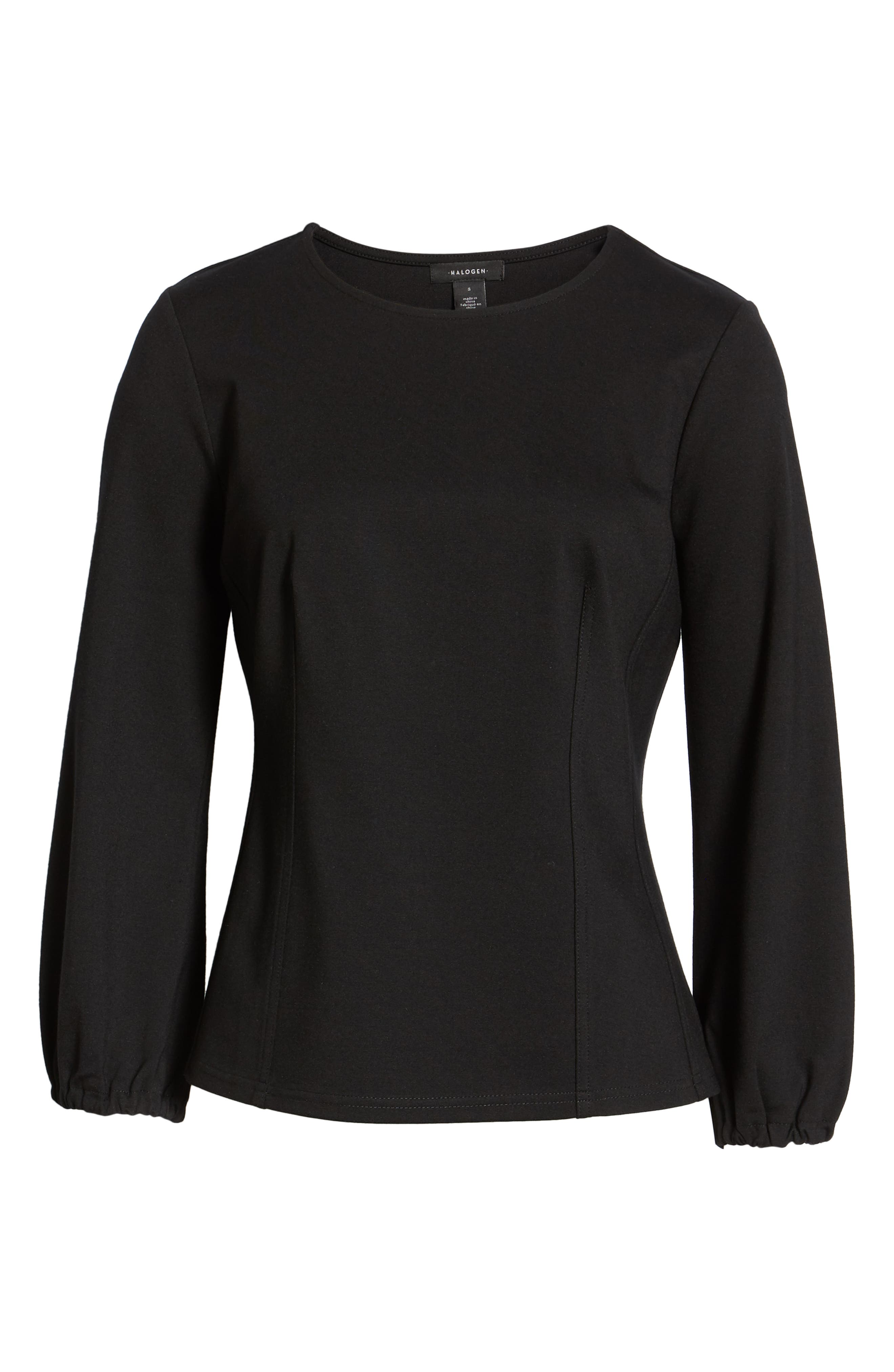 HALOGEN<SUP>®</SUP>, Structured Stretch Knit Top, Alternate thumbnail 6, color, BLACK