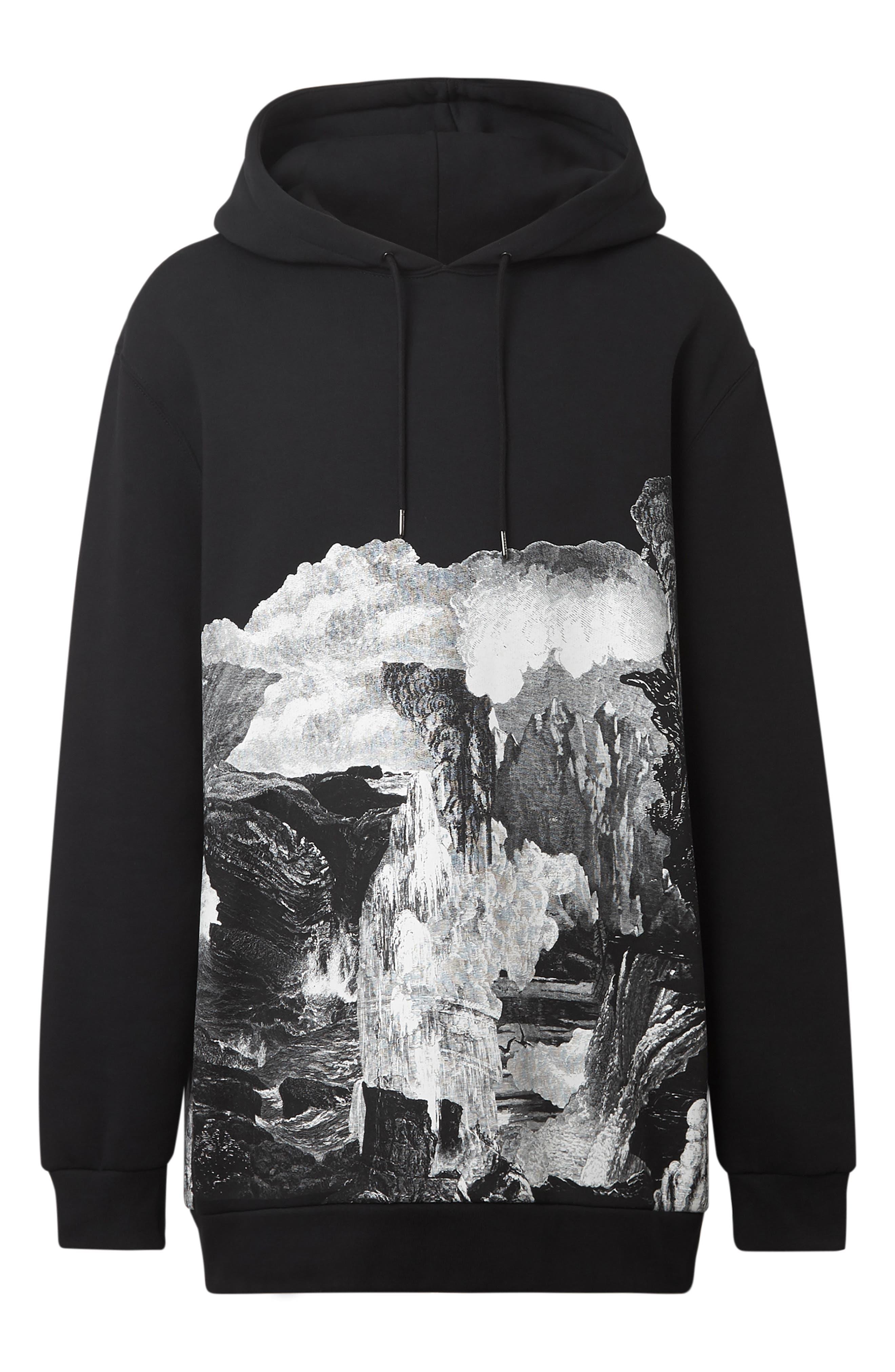 BURBERRY, Dreamscape Print Hooded Sweatshirt, Alternate thumbnail 5, color, BLACK