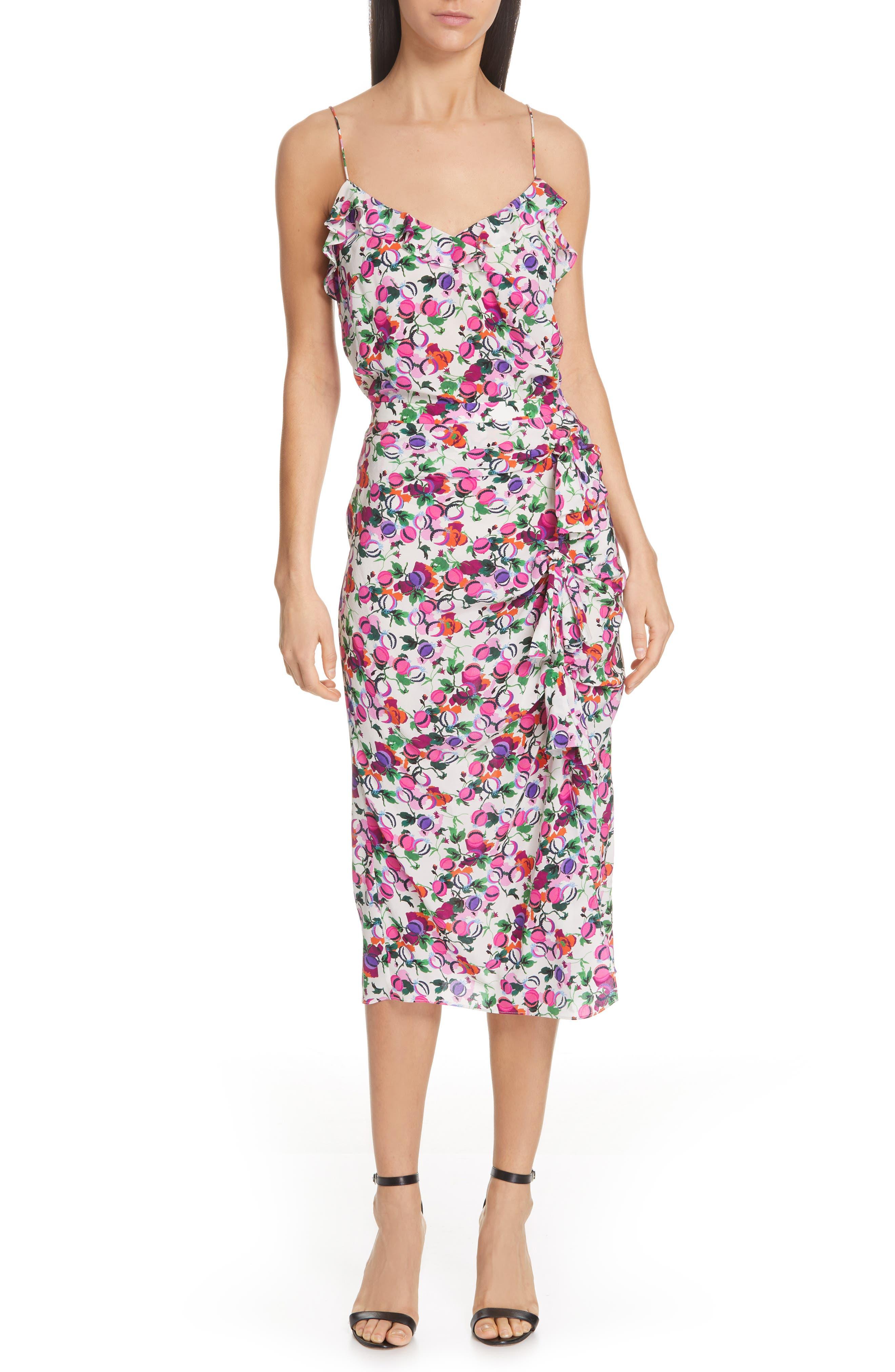 SALONI, Kelly Floral Print Silk Skirt, Alternate thumbnail 7, color, ROSE BOUNTY