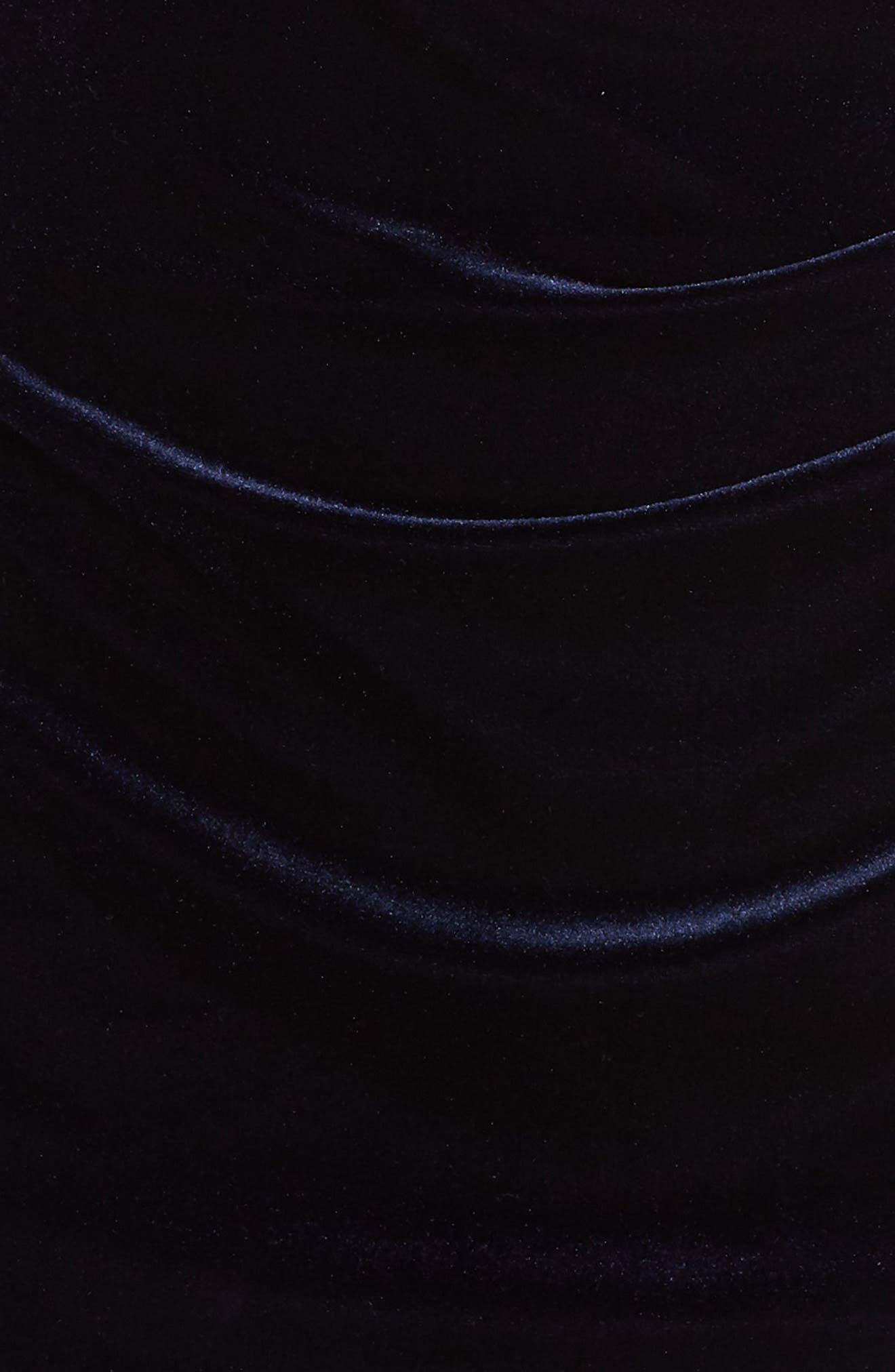 VINCE CAMUTO, Velvet Off the Shoulder Dress, Alternate thumbnail 6, color, NAVY