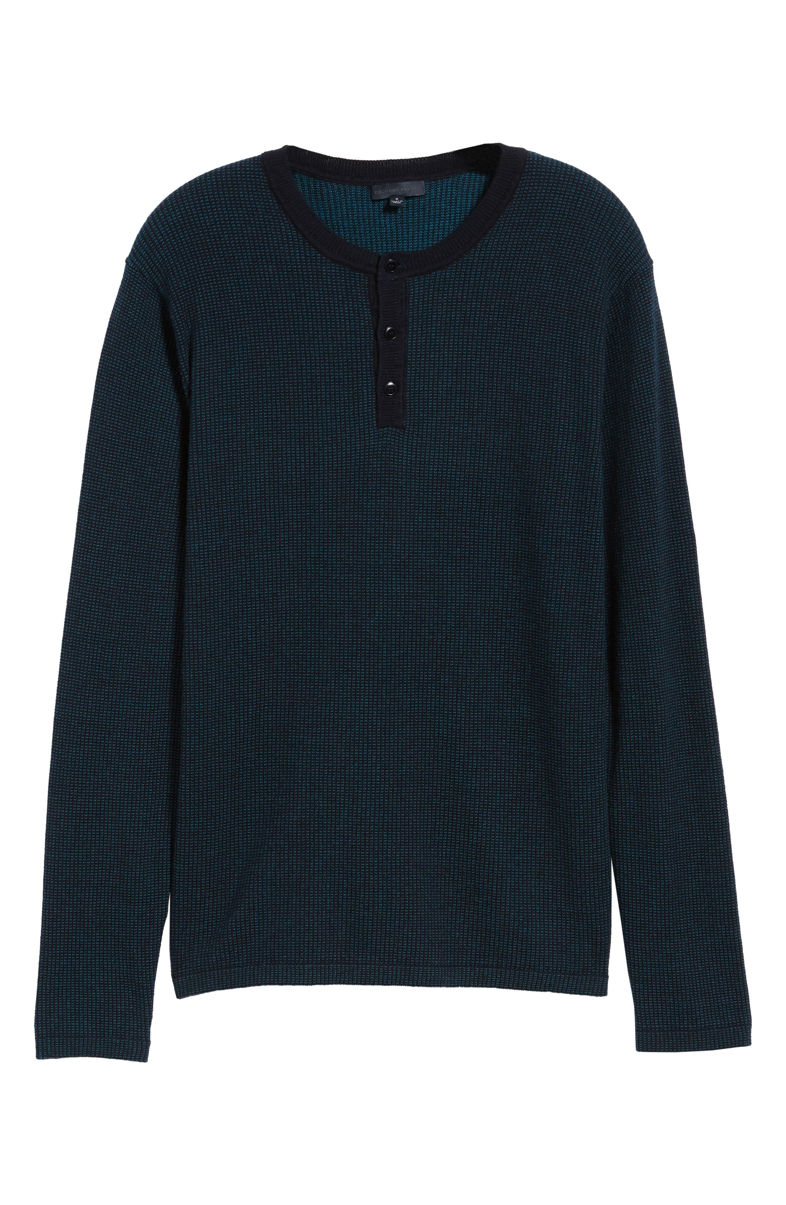 ZACHARY PRELL, Kimball Henley Sweater, Alternate thumbnail 6, color, EMERALD