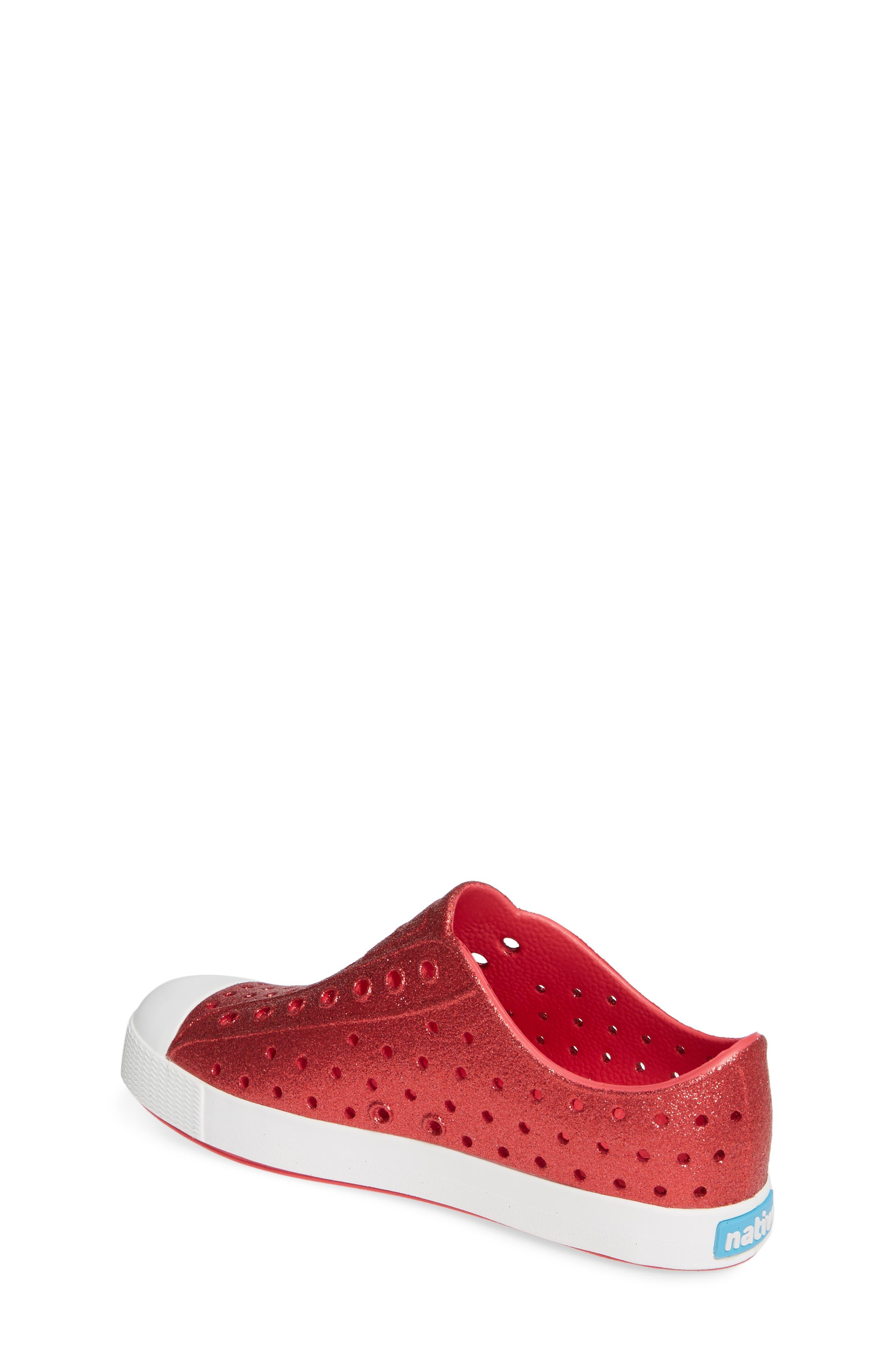 NATIVE SHOES, Jefferson Bling Glitter Slip-On Vegan Sneaker, Alternate thumbnail 2, color, SAKURA BLING/ SHELL WHITE