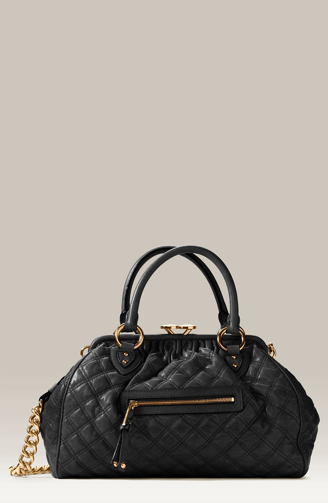 MARC JACOBS, 'Stam' Quilted Frame Satchel, Main thumbnail 1, color, 001
