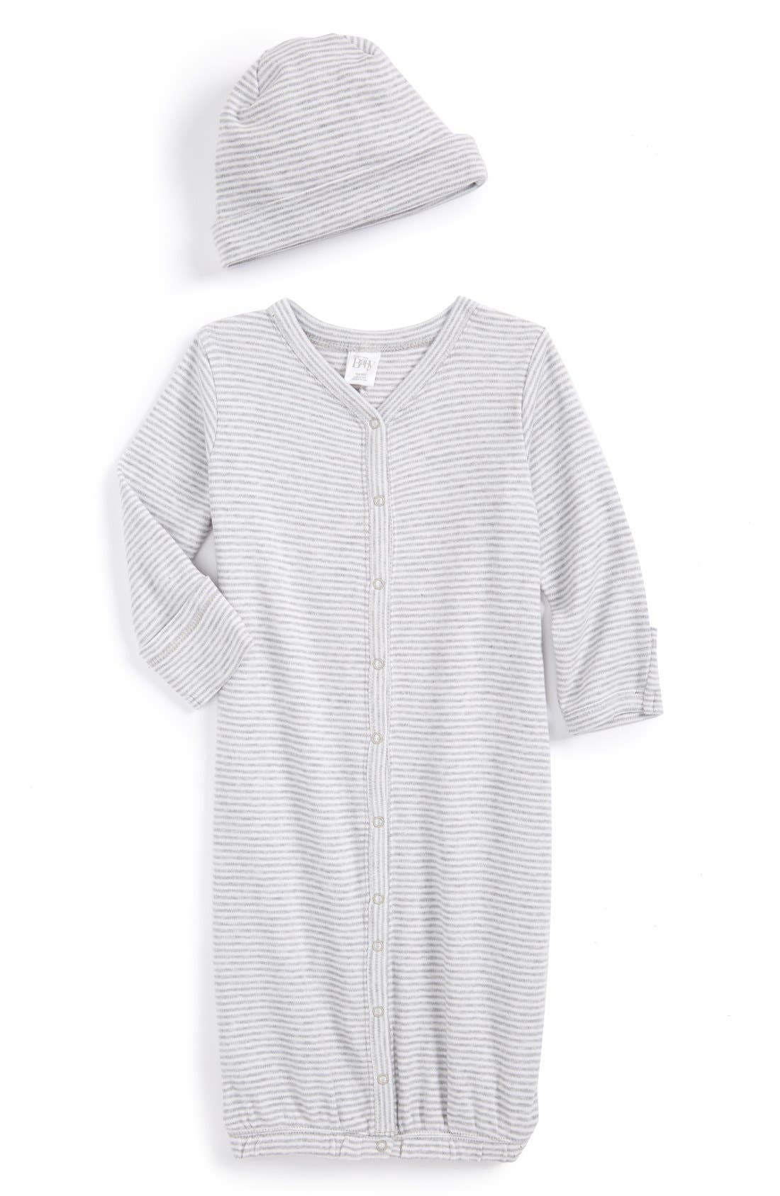 NORDSTROM BABY, Convertible Cotton Gown & Hat, Main thumbnail 1, color, GREY ASH HEATHER FINE STRIPE