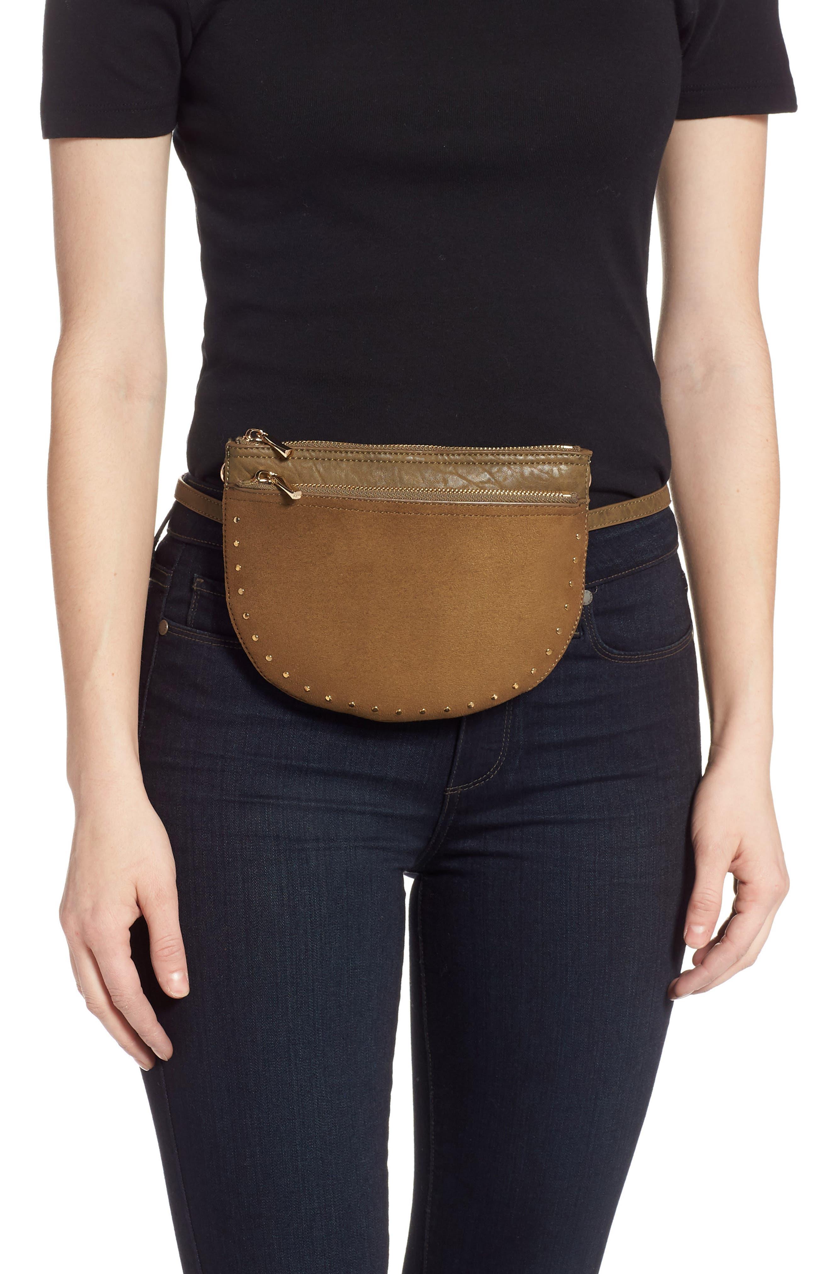 SOLE SOCIETY, Jeana Studded Convertible Belt Bag, Alternate thumbnail 2, color, OLIVE