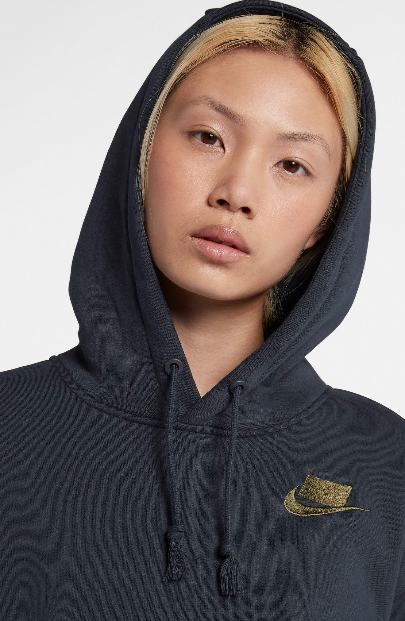NIKE, Sportswear NSW Women's Fleece Hoodie, Alternate thumbnail 8, color, DARK OBSIDIAN/ OLIVE