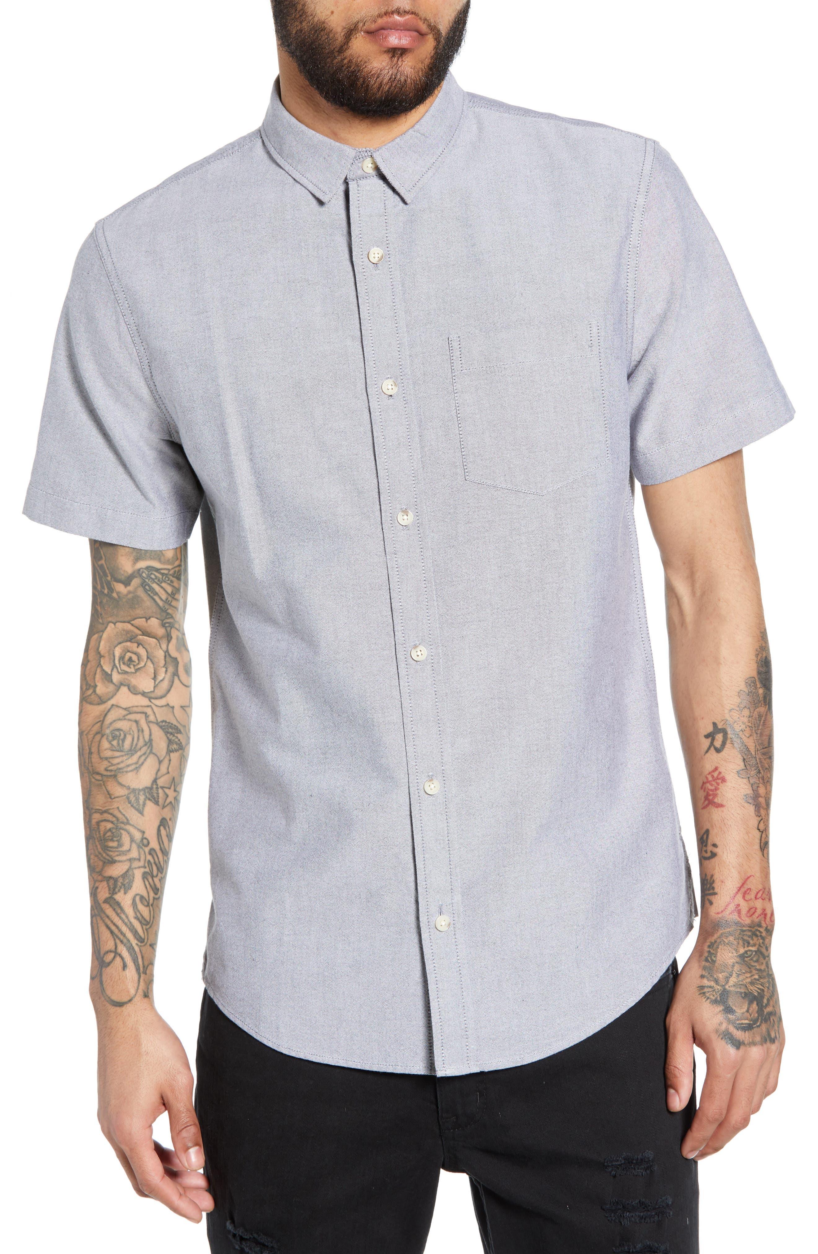 THE RAIL Oxford Cloth Woven Shirt, Main, color, BLACK ROCK-WHITE