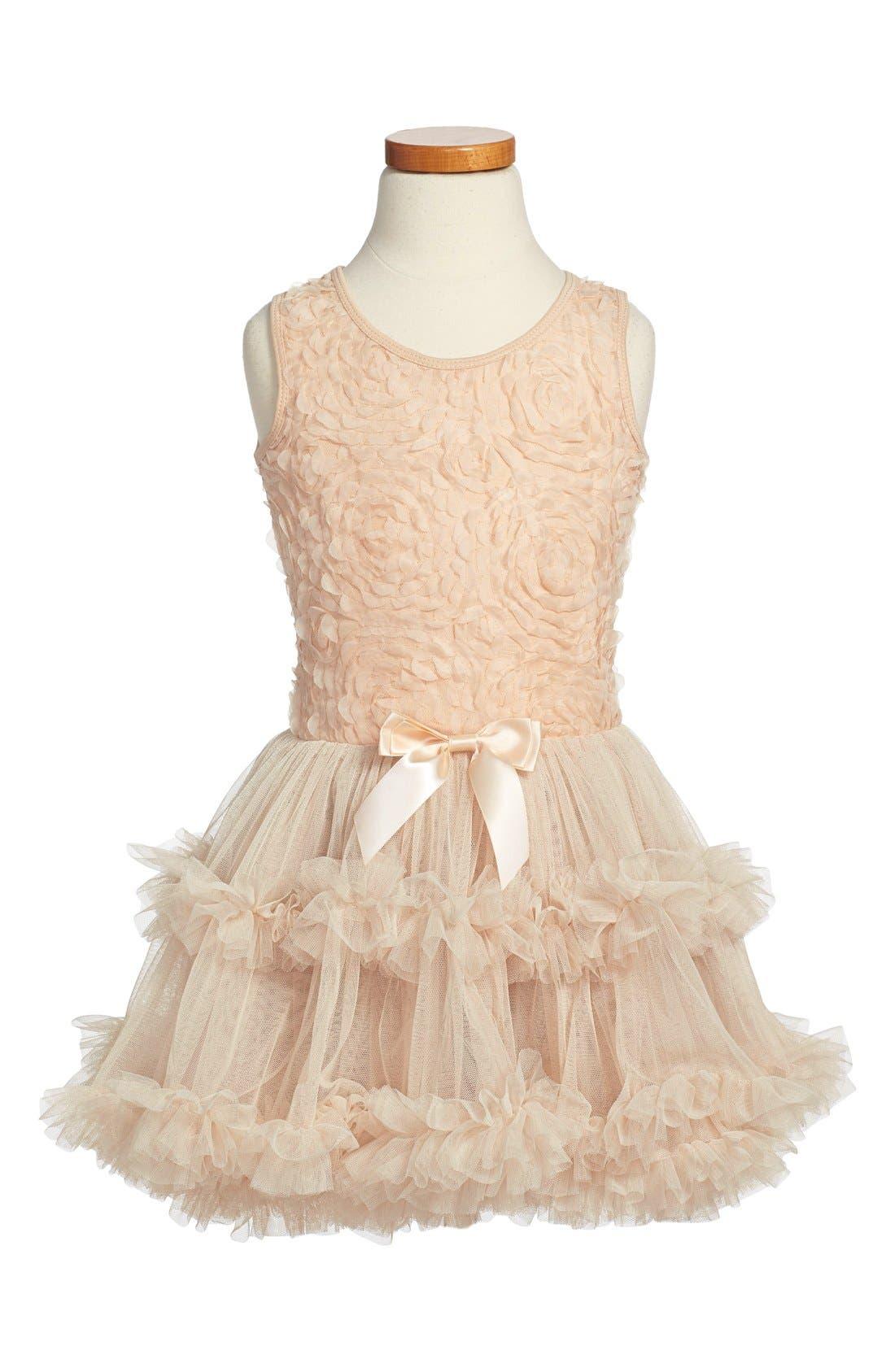 POPATU, Ribbon Rosette Sleeveless Dress, Main thumbnail 1, color, IVORY