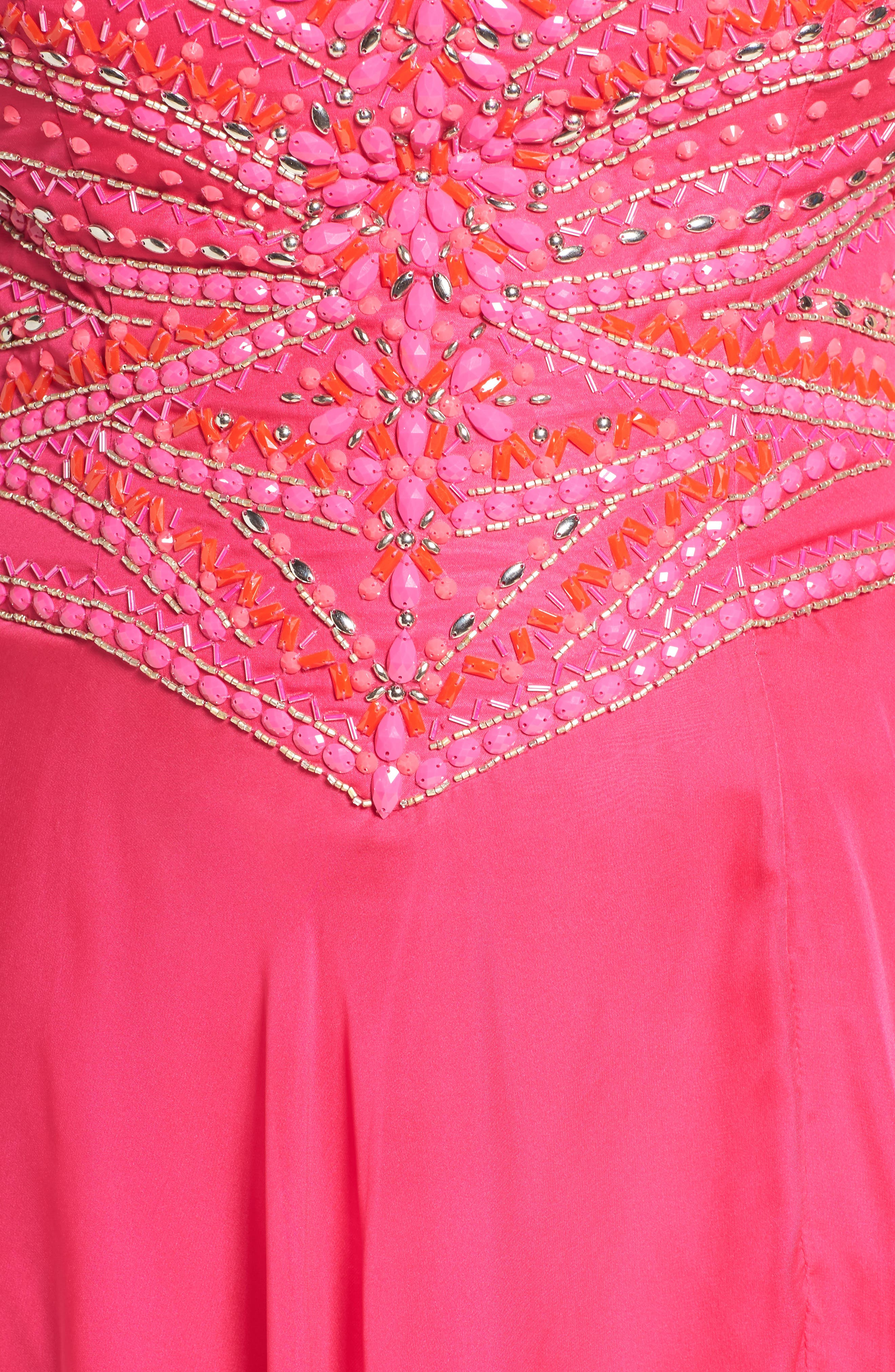 MAC DUGGAL, Embellished Gown, Alternate thumbnail 5, color, LIPSTICK