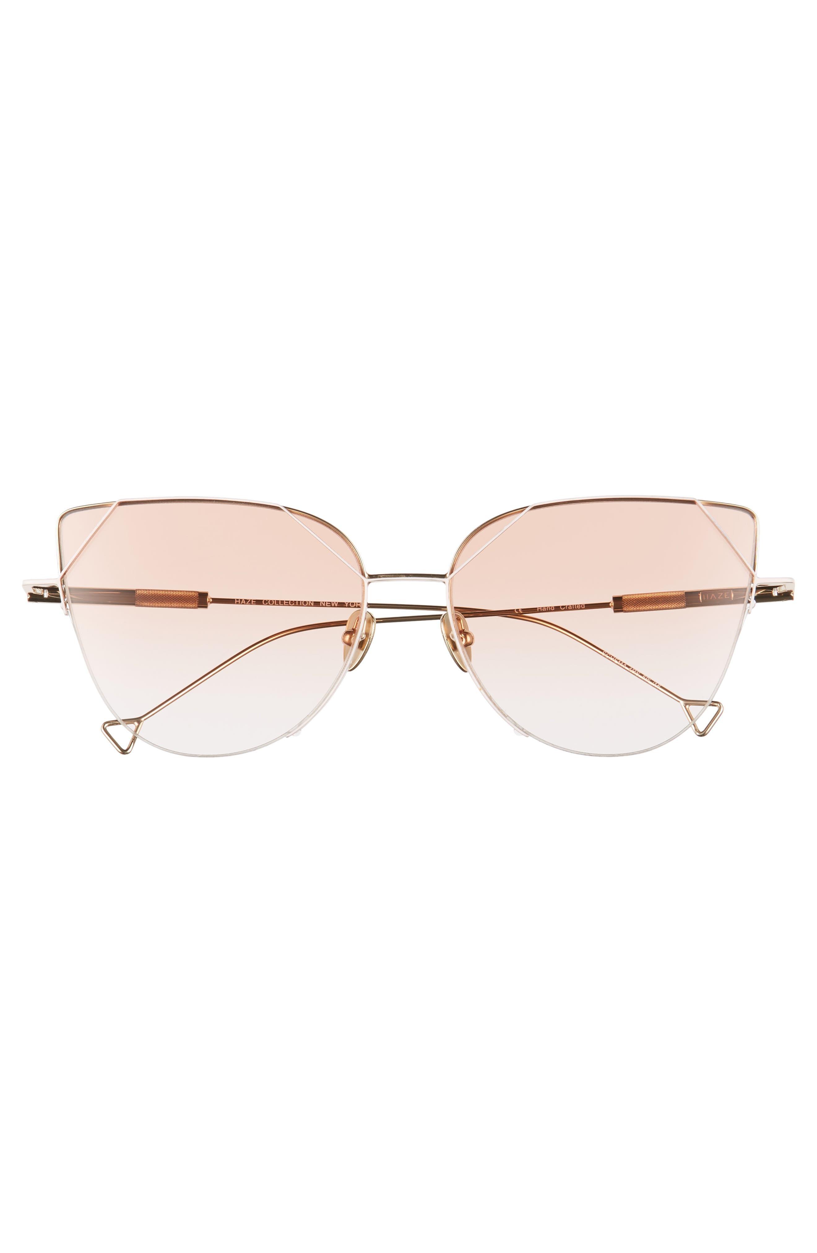 HAZE, The Schema 59mm Cat Eye Sunglasses, Alternate thumbnail 3, color, NUDE