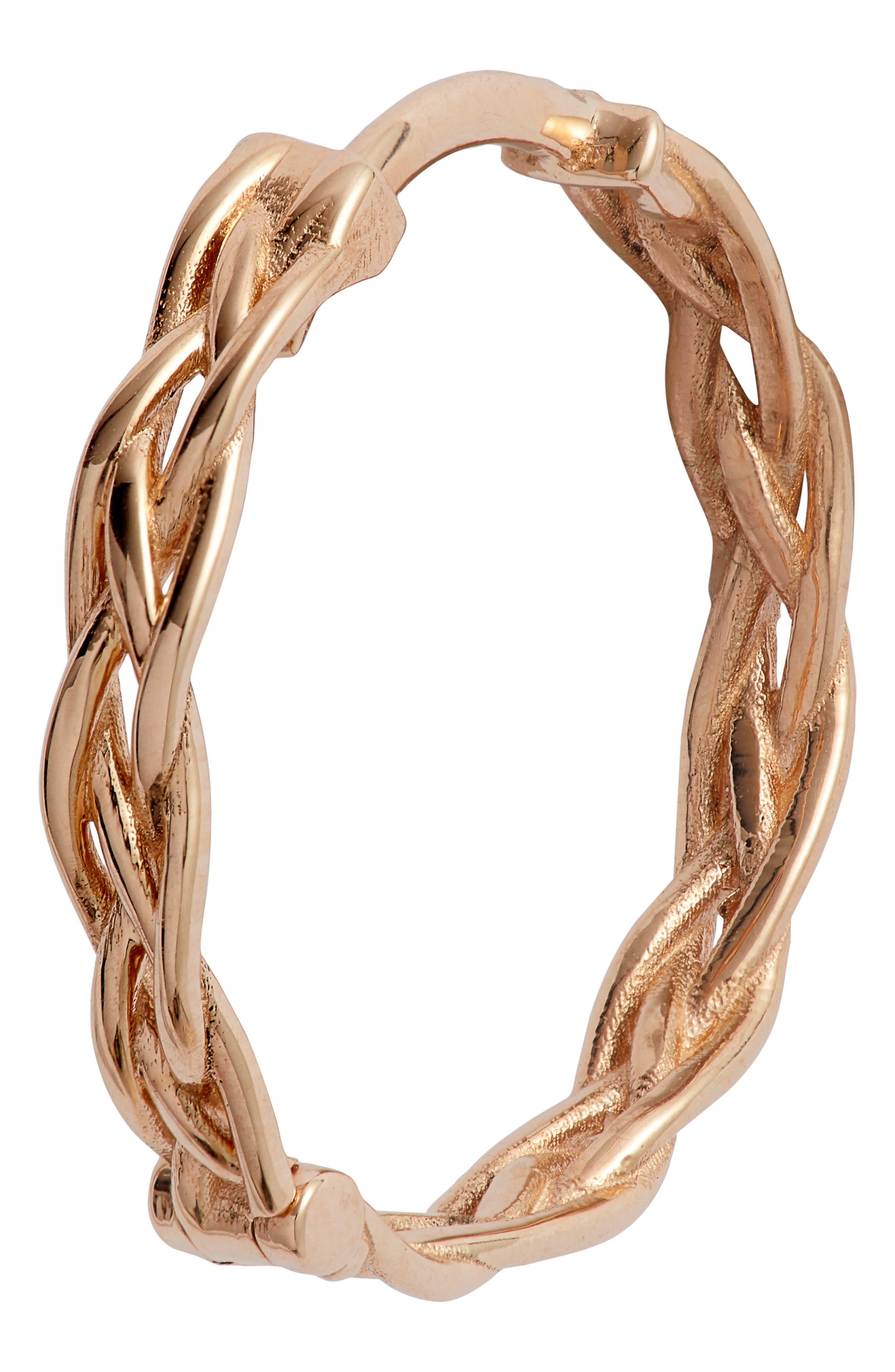 KISMET BY MILKA, Large Braided Hoop Earrings, Alternate thumbnail 5, color, ROSE GOLD
