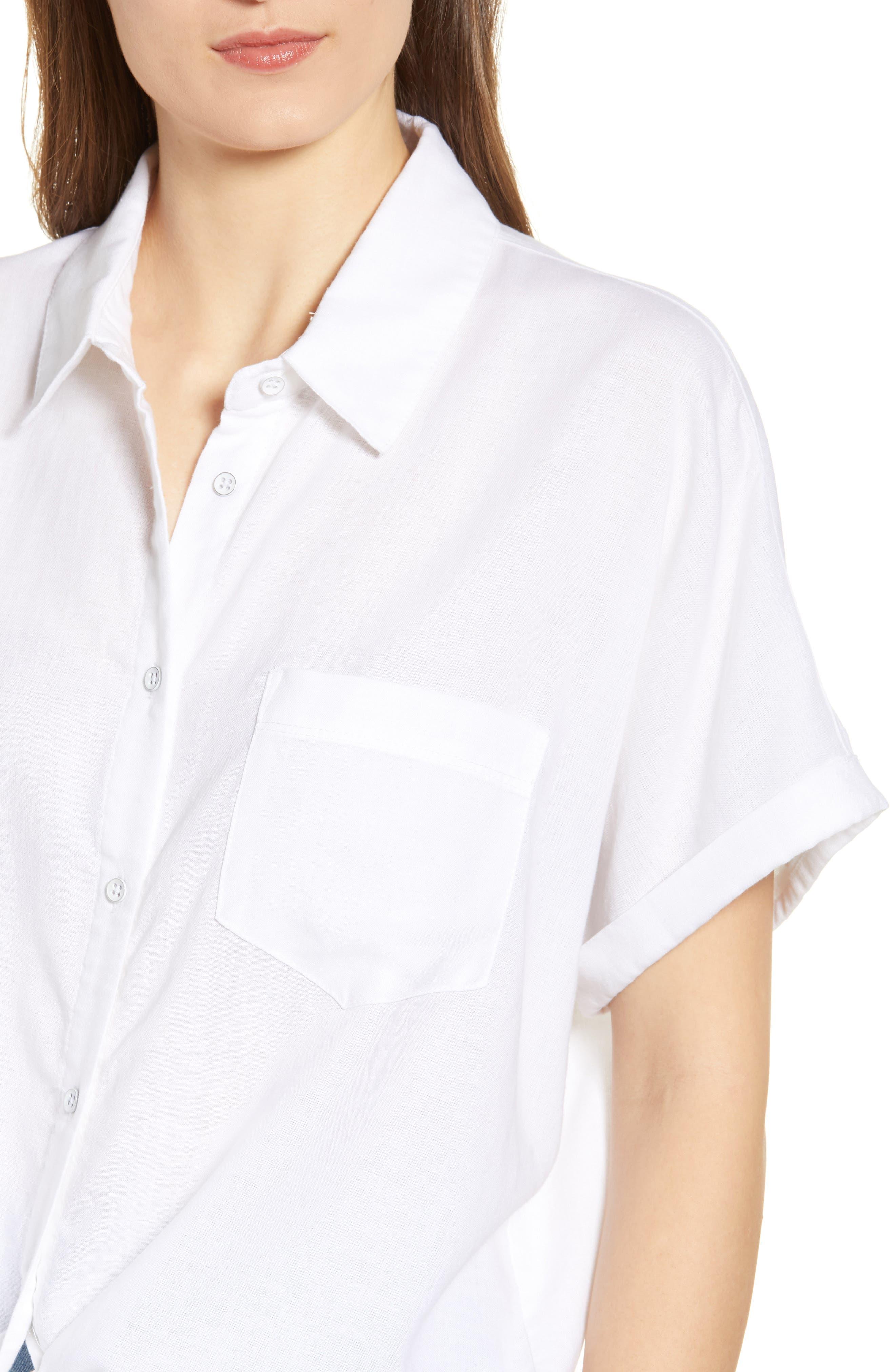 DL1961, Chrystie Tie Waist Shirt, Alternate thumbnail 4, color, WHITE
