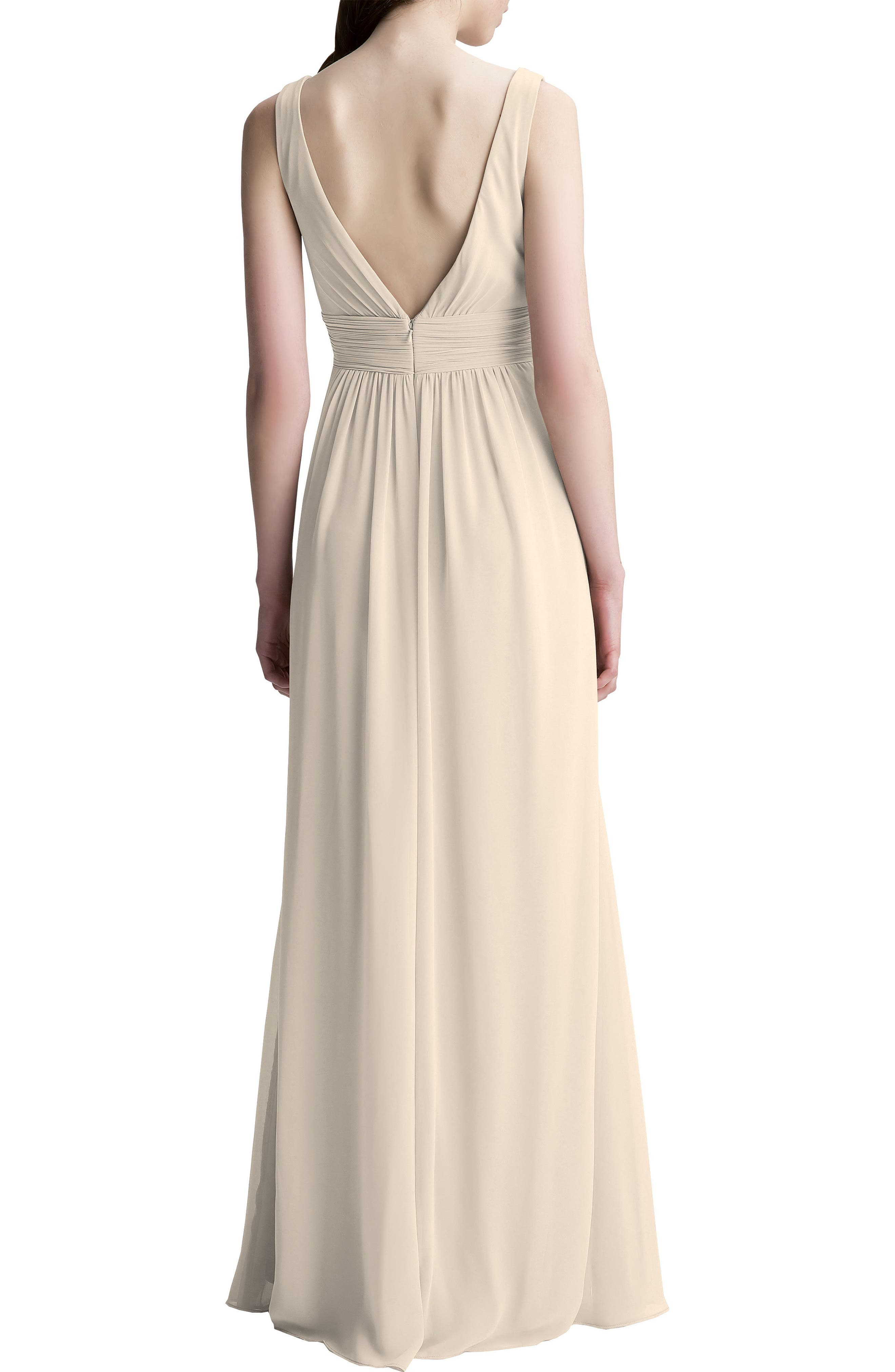 #LEVKOFF, V-Neck Chiffon A-Line Gown, Alternate thumbnail 2, color, CHAMPAGNE