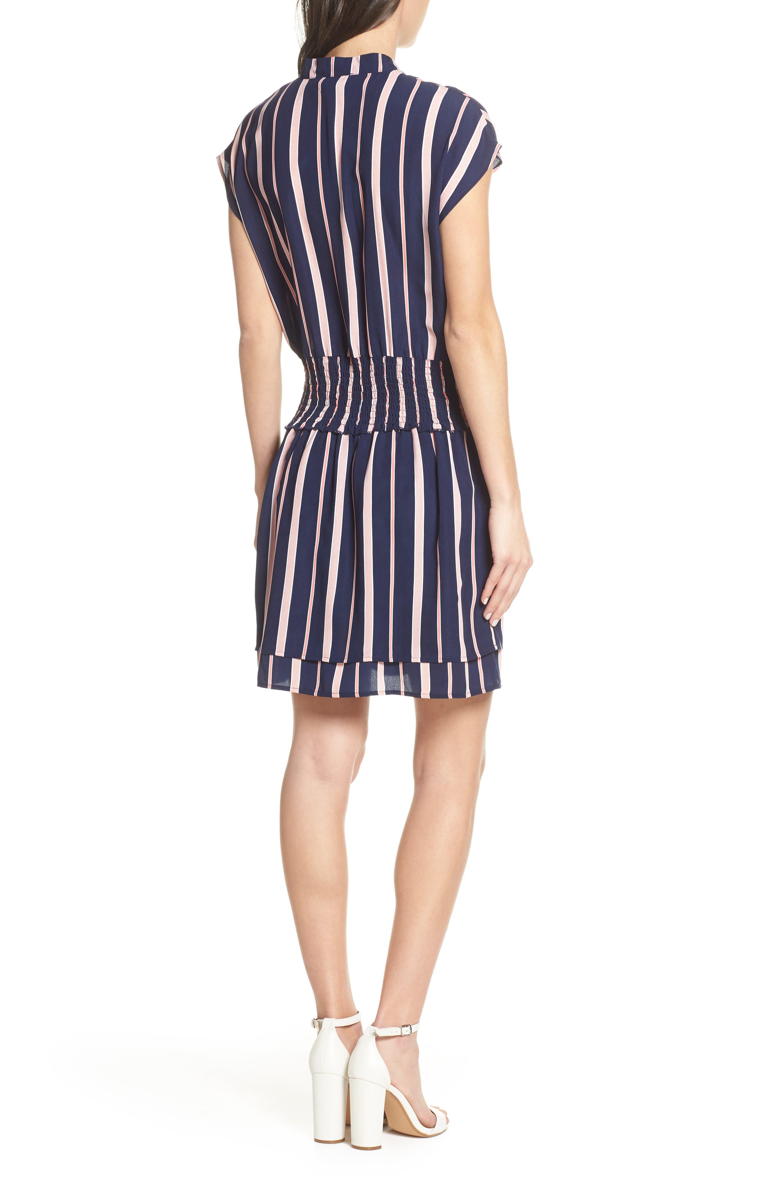 CHARLES HENRY, Smocked Stripe Dress, Alternate thumbnail 2, color, NAVY/ PINK STRIPE