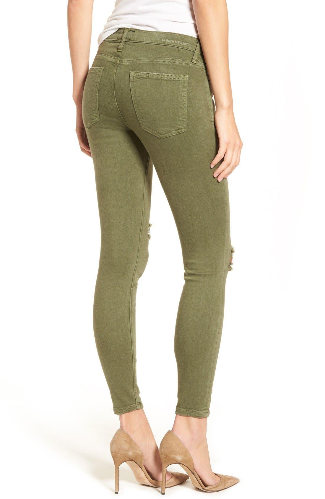 CURRENT/ELLIOTT, 'The Stiletto' Crop Skinny Jeans, Alternate thumbnail 4, color, 309
