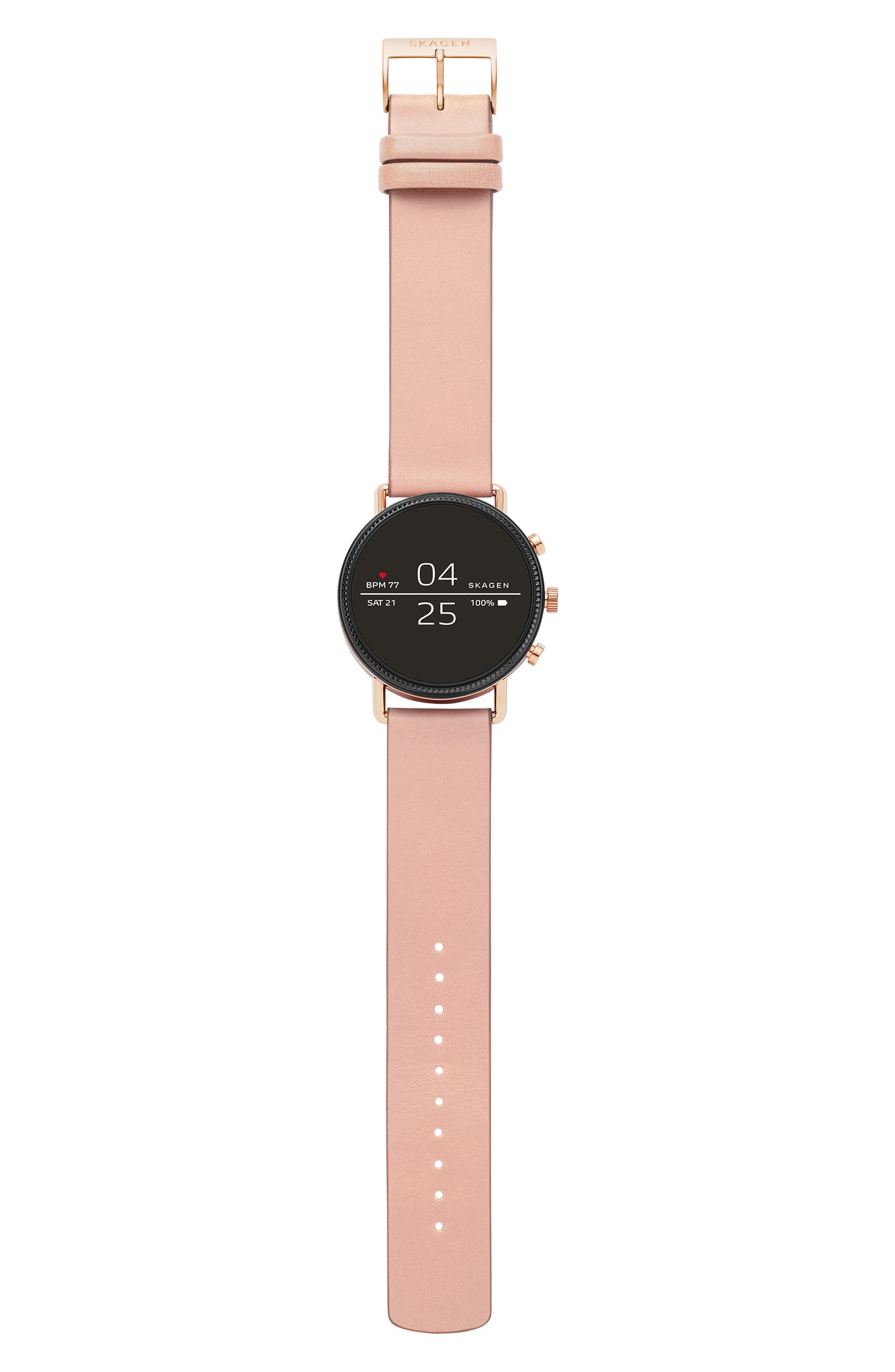 SKAGEN, Falster 2 Touchscreen Strap Smart Watch, 40mm, Alternate thumbnail 4, color, PINK/ BLACK/ ROSE GOLD