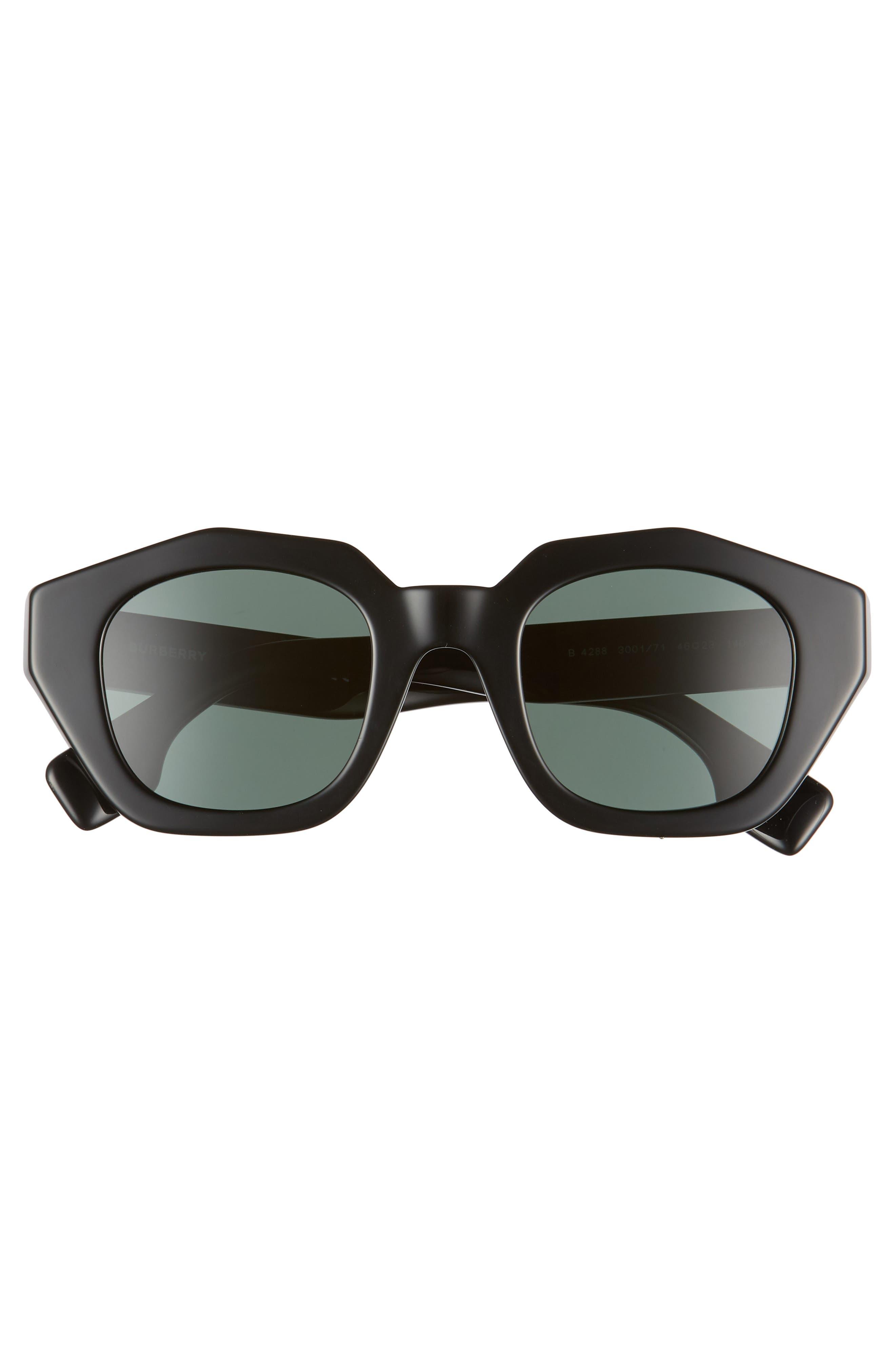 BURBERRY, 46mm Geometric Sunglasses, Alternate thumbnail 3, color, BLACK