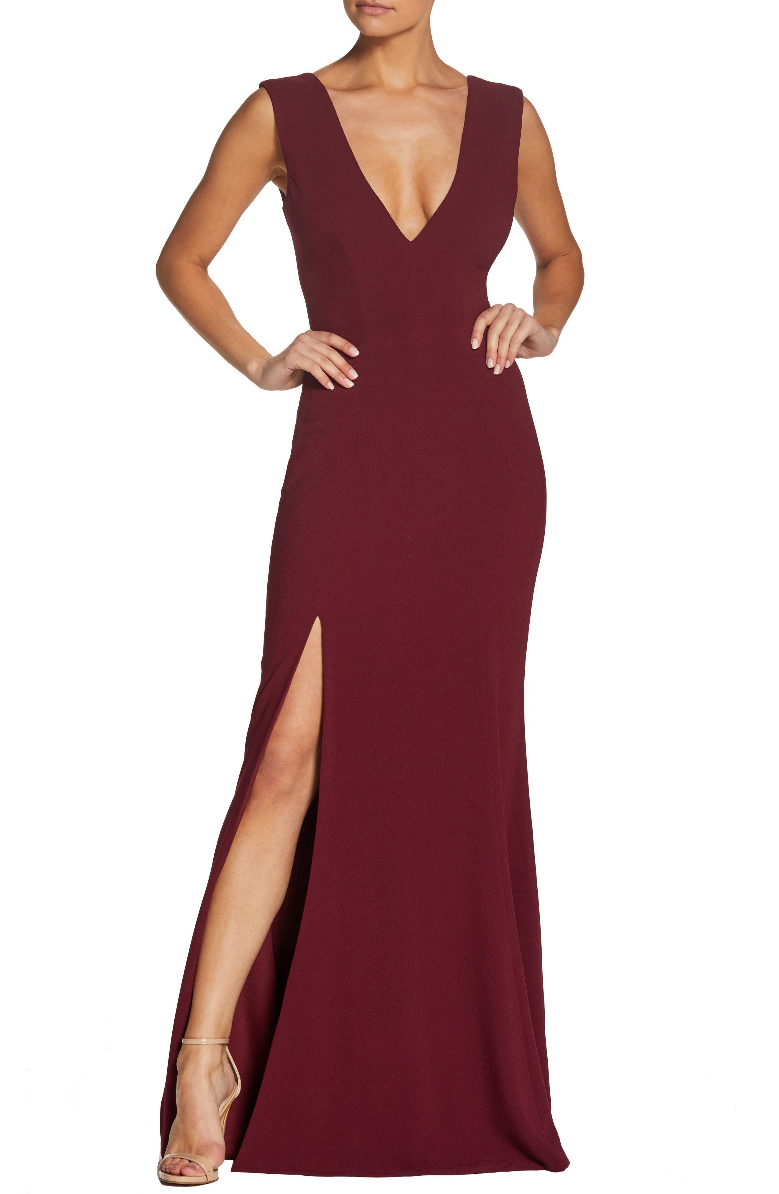 Dress The Population Sandra Plunge Crepe Trumpet Gown, Burgundy