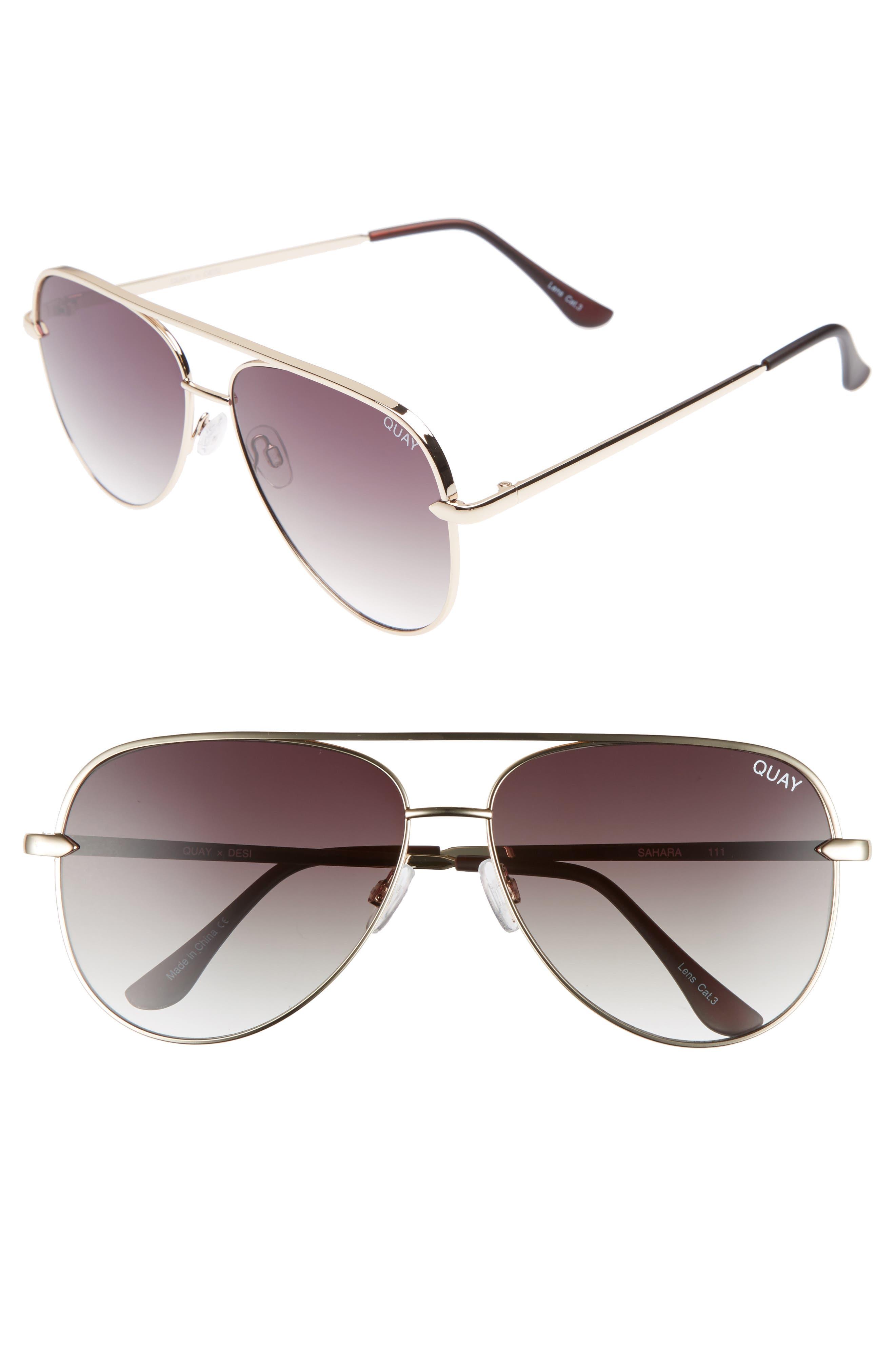 QUAY AUSTRALIA x Desi Perkins Sahara 60mm Aviator Sunglasses, Main, color, GOLD/ SMOKE