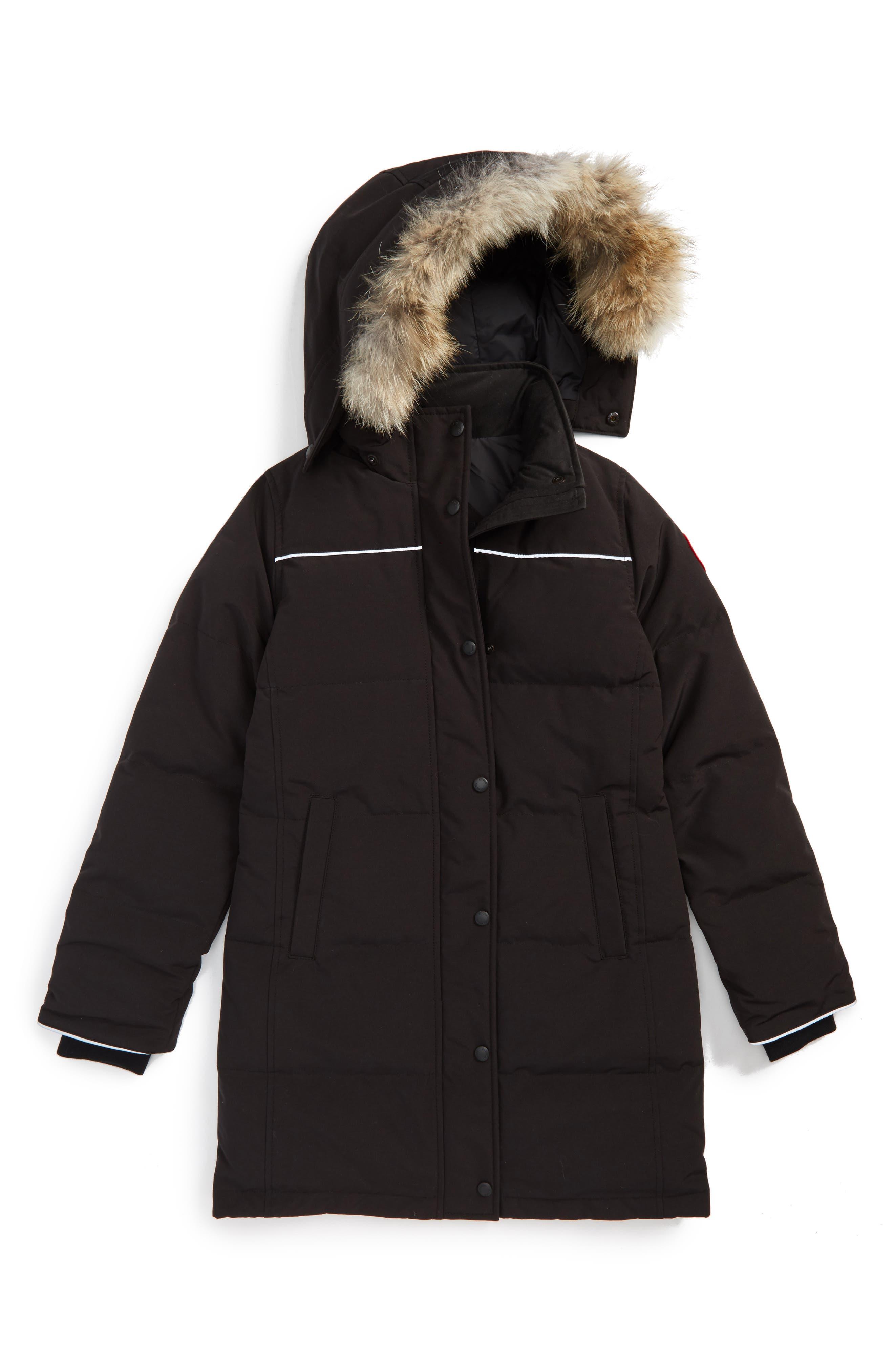 CANADA GOOSE, Juniper Down Parka with Genuine Coyote Fur Trim, Main thumbnail 1, color, BLACK