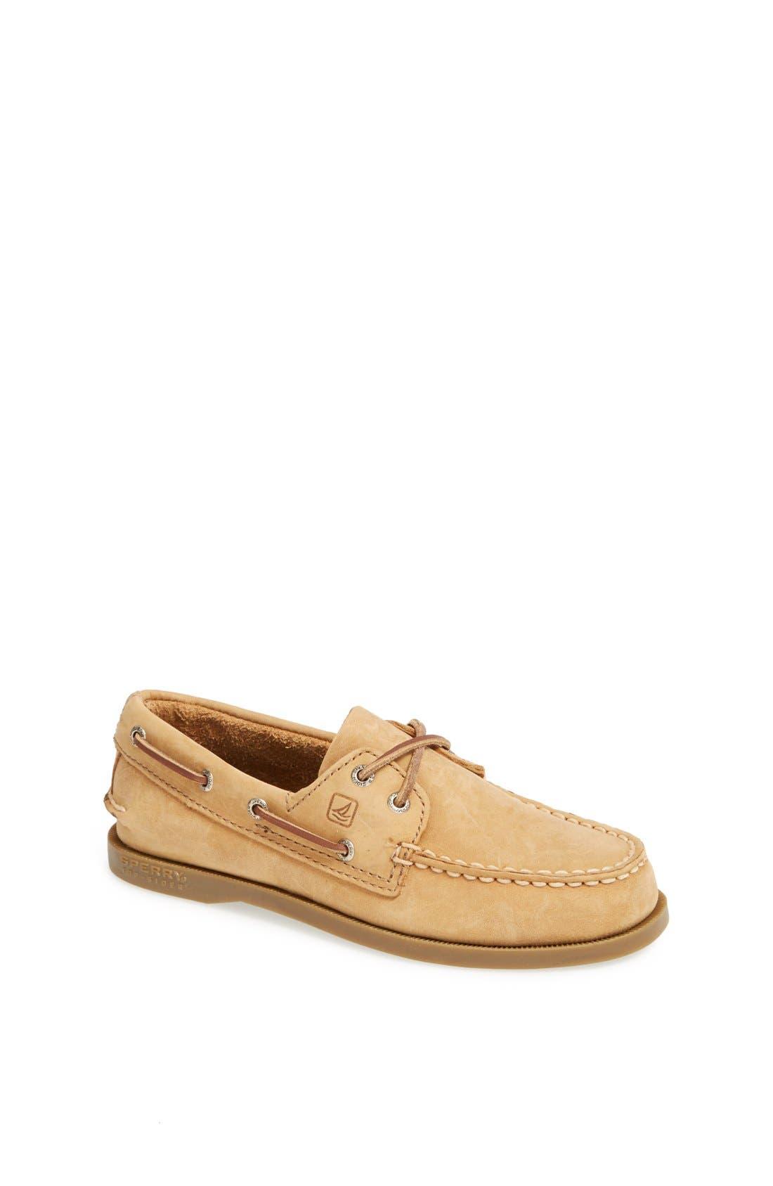 SPERRY KIDS 'Authentic Original' Boat Shoe, Main, color, SAHARA LEATHER