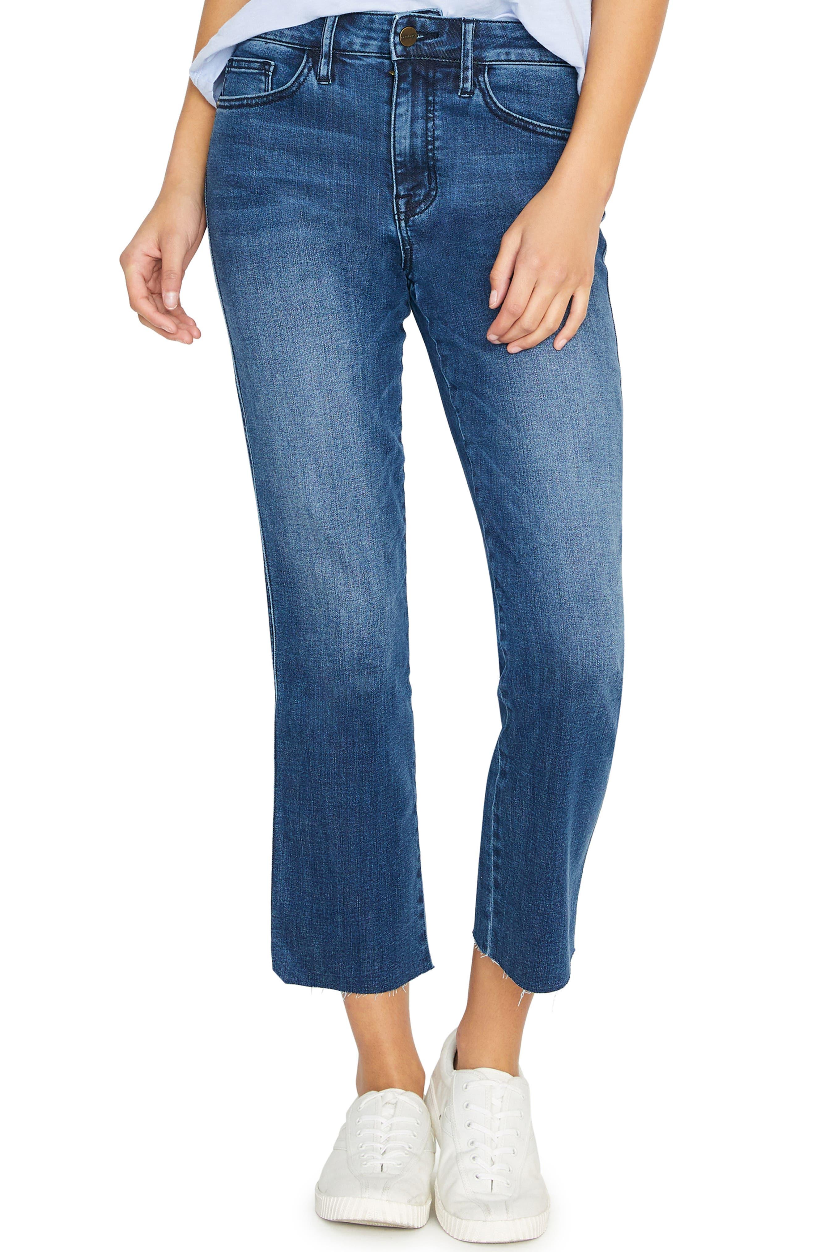 SANCTUARY, Modern Standard High Waist Raw Hem Straight Leg Jeans, Main thumbnail 1, color, ELSINORE BLUE