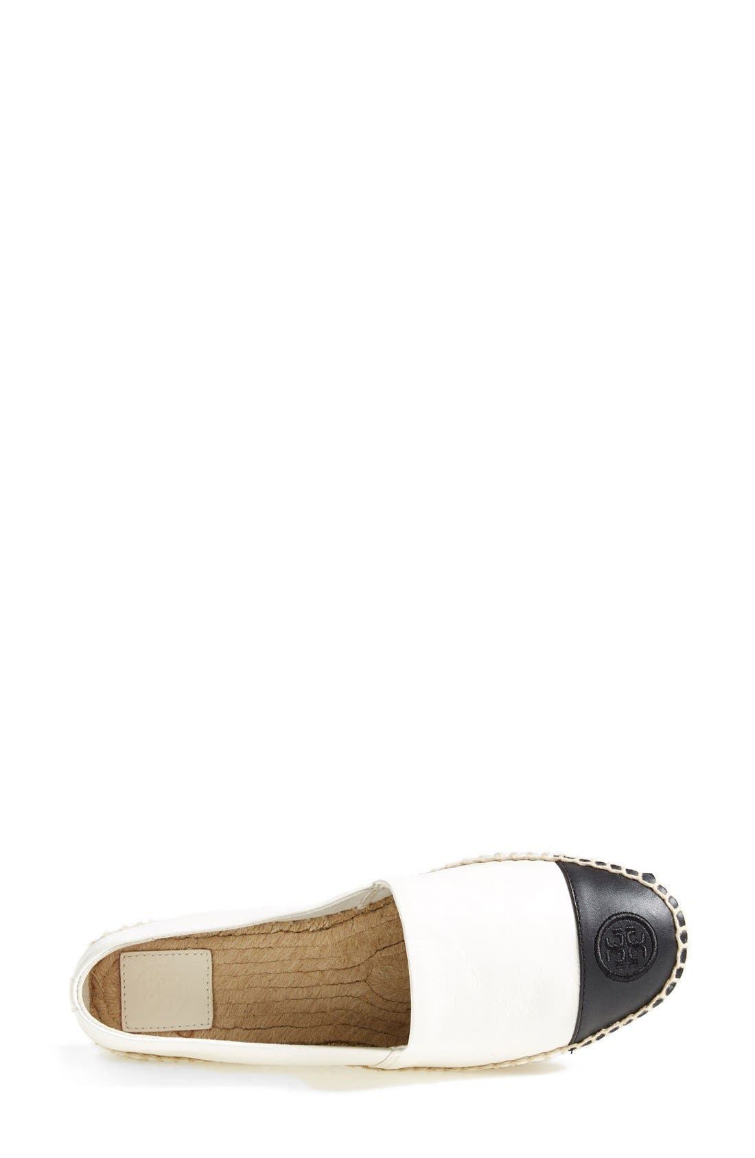 TORY BURCH, Colorblock Espadrille Flat, Alternate thumbnail 2, color, IVORY/ BLACK