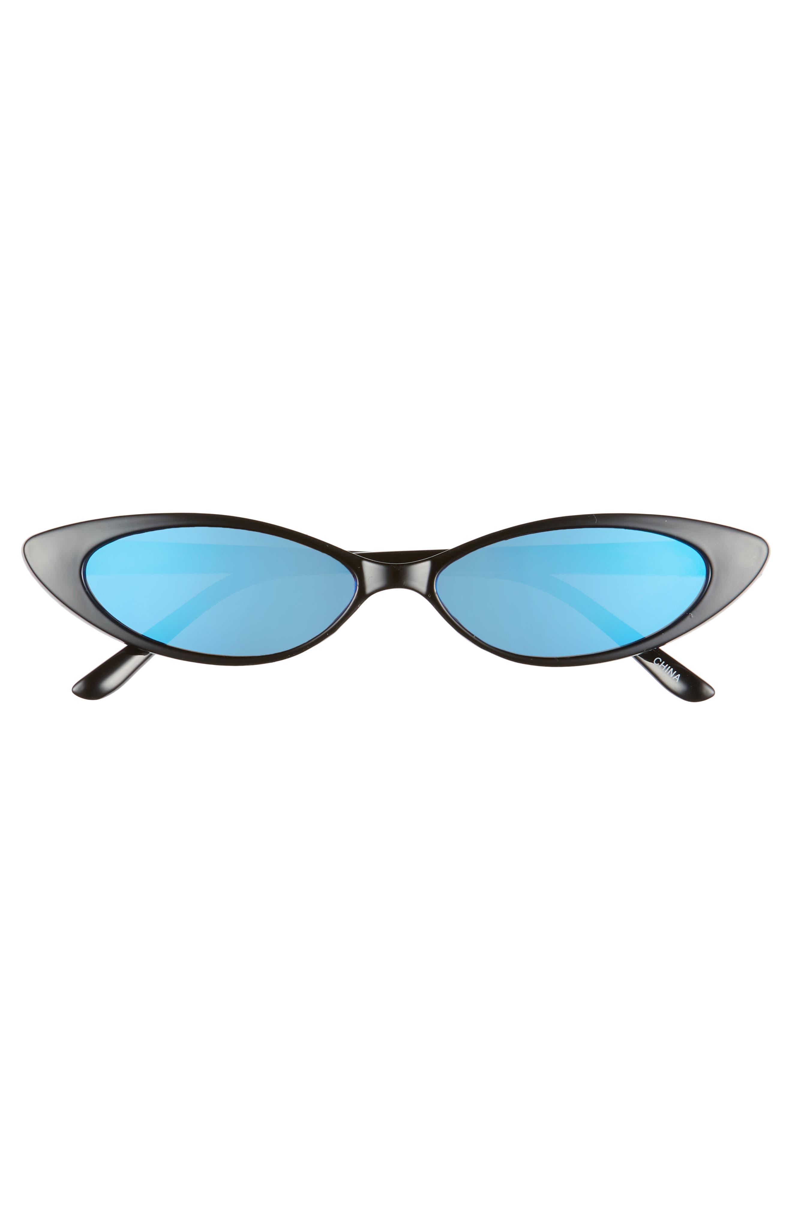 RAD + REFINED, Oval Sunglasses, Alternate thumbnail 3, color, BLACK/ BLUE