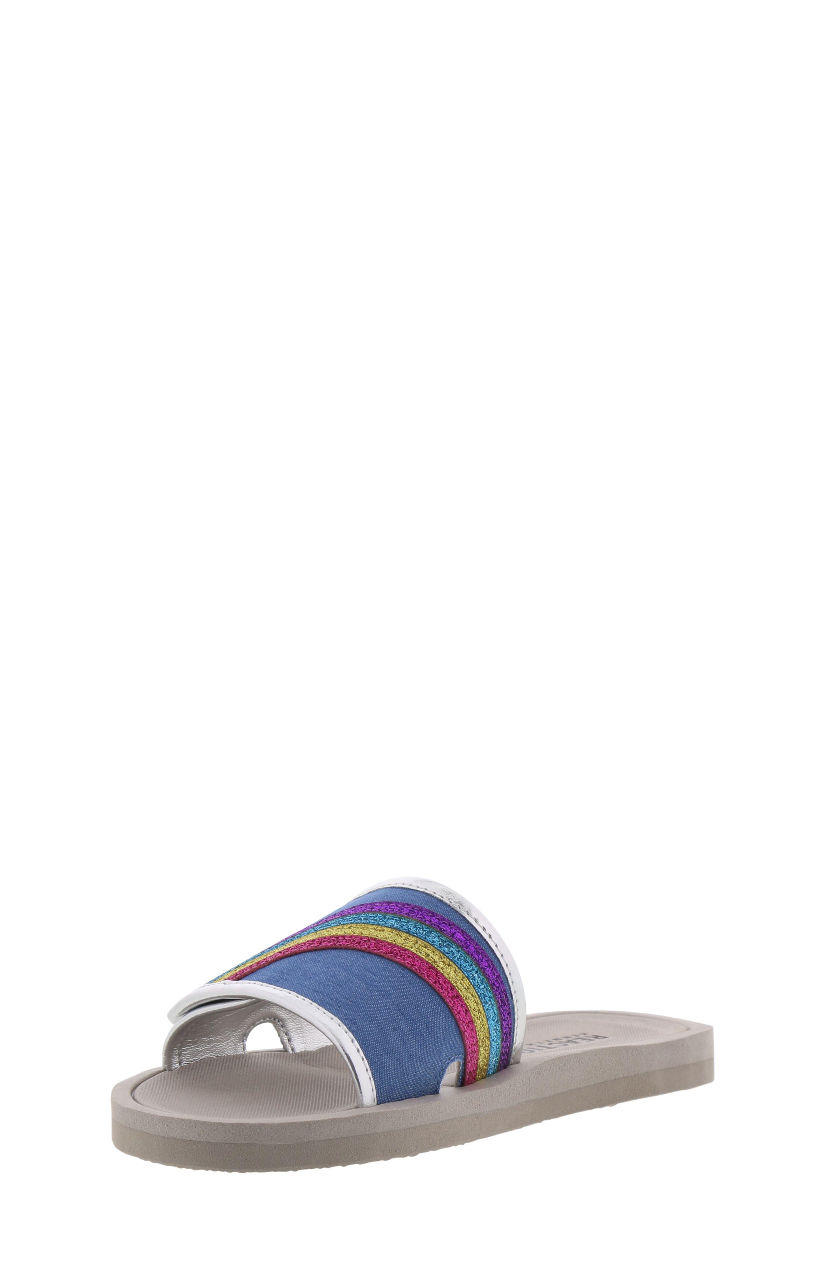 REACTION KENNETH COLE, Elise Karla Rainbow Slide Sandal, Alternate thumbnail 9, color, DENIM