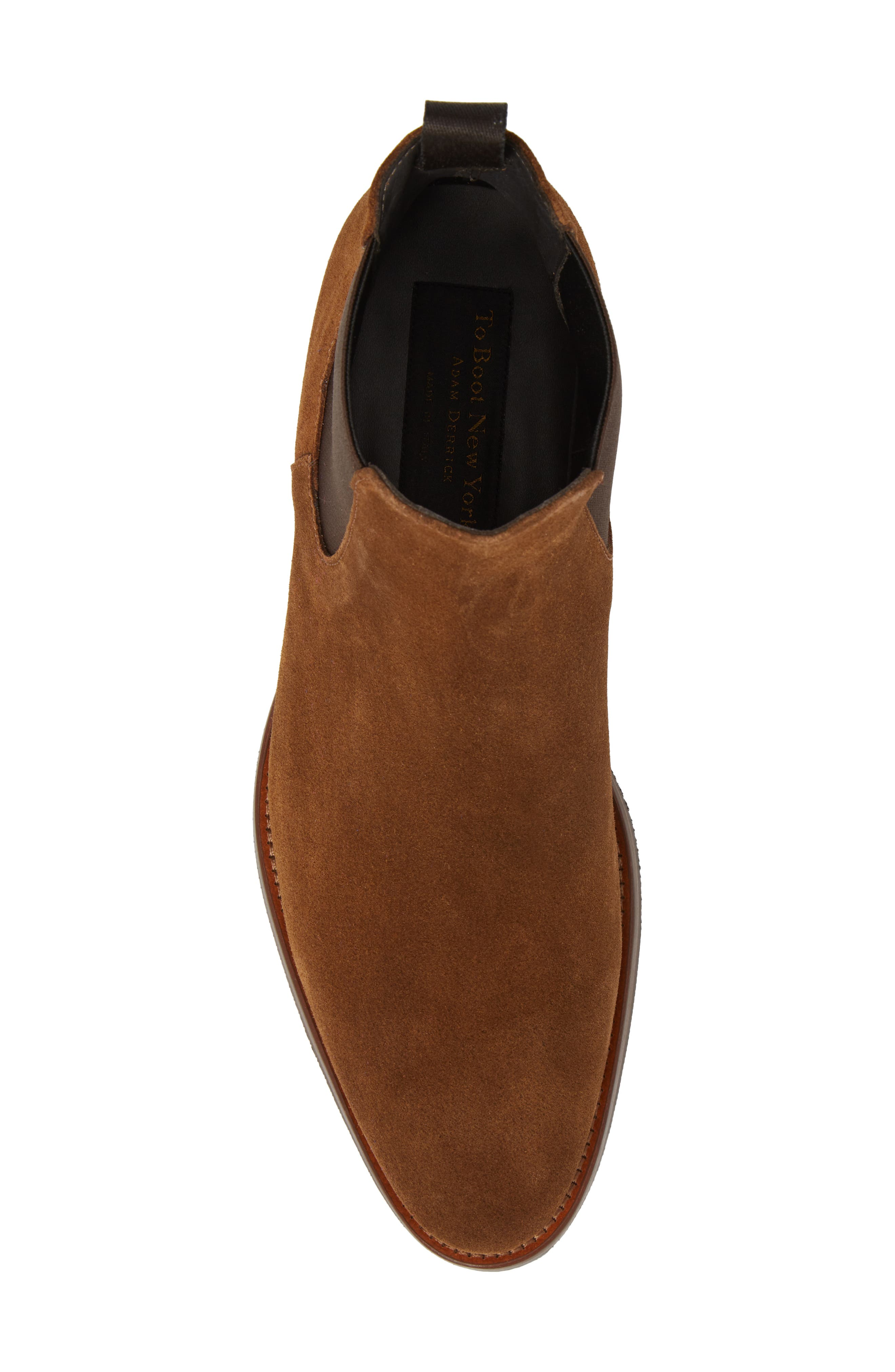 TO BOOT NEW YORK, Shelby Mid Chelsea Boot, Alternate thumbnail 5, color, MID BROWN SUEDE