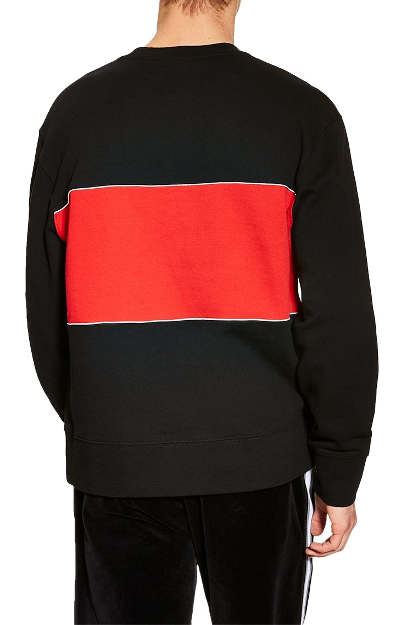 TOPMAN, Colorblock Longline Crewneck Sweatshirt, Alternate thumbnail 2, color, BLACK