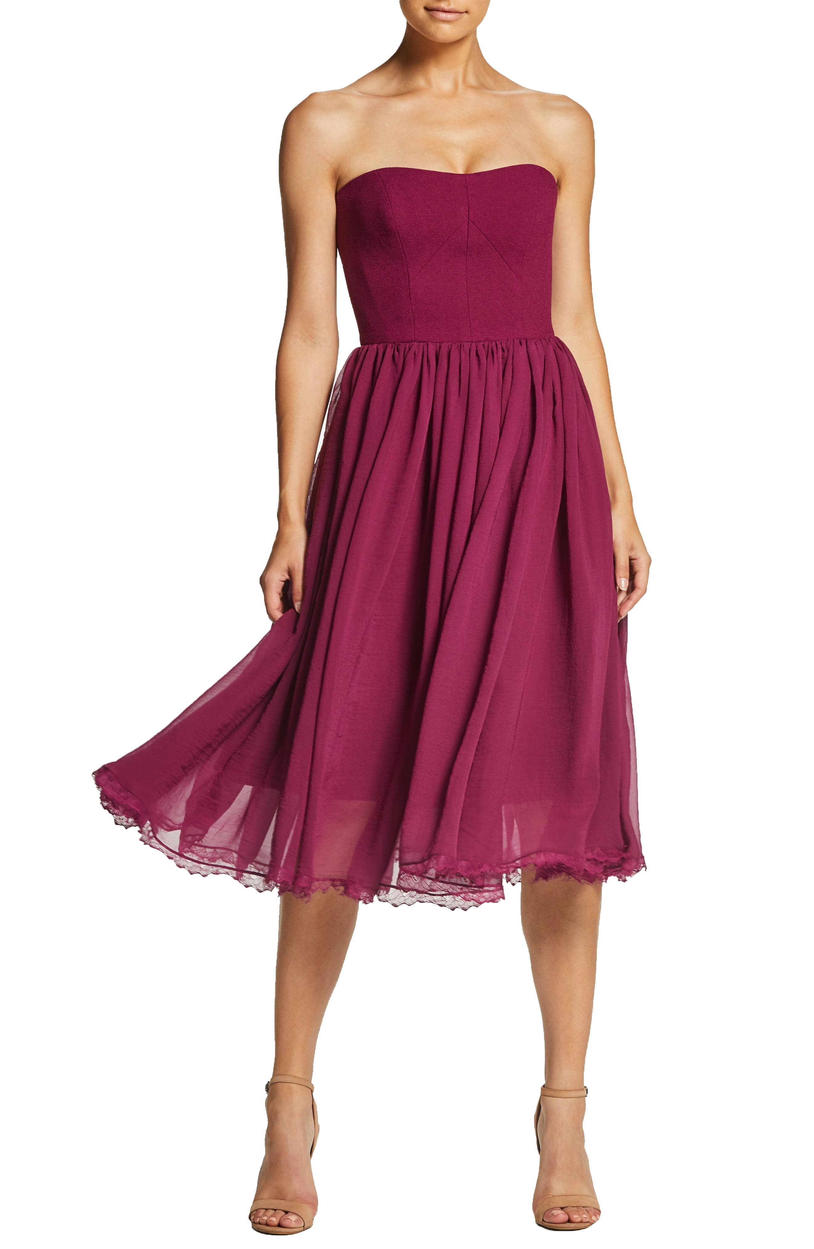 Dress The Population Willow Strapless Crepe Chiffon Cocktail Dress, Pink