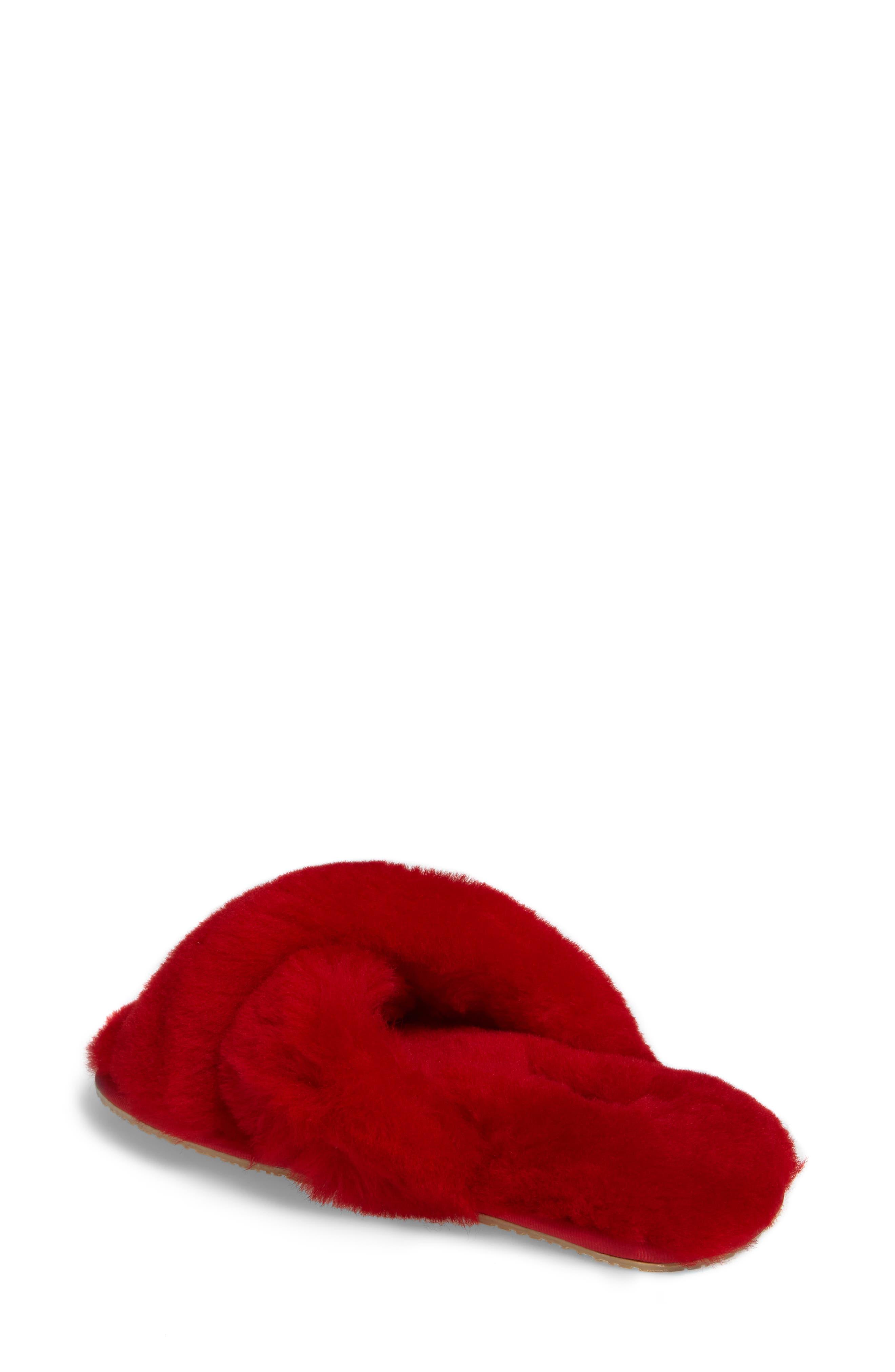 PATRICIA GREEN, Mt. Hood Genuine Shearling Slipper, Alternate thumbnail 2, color, RED