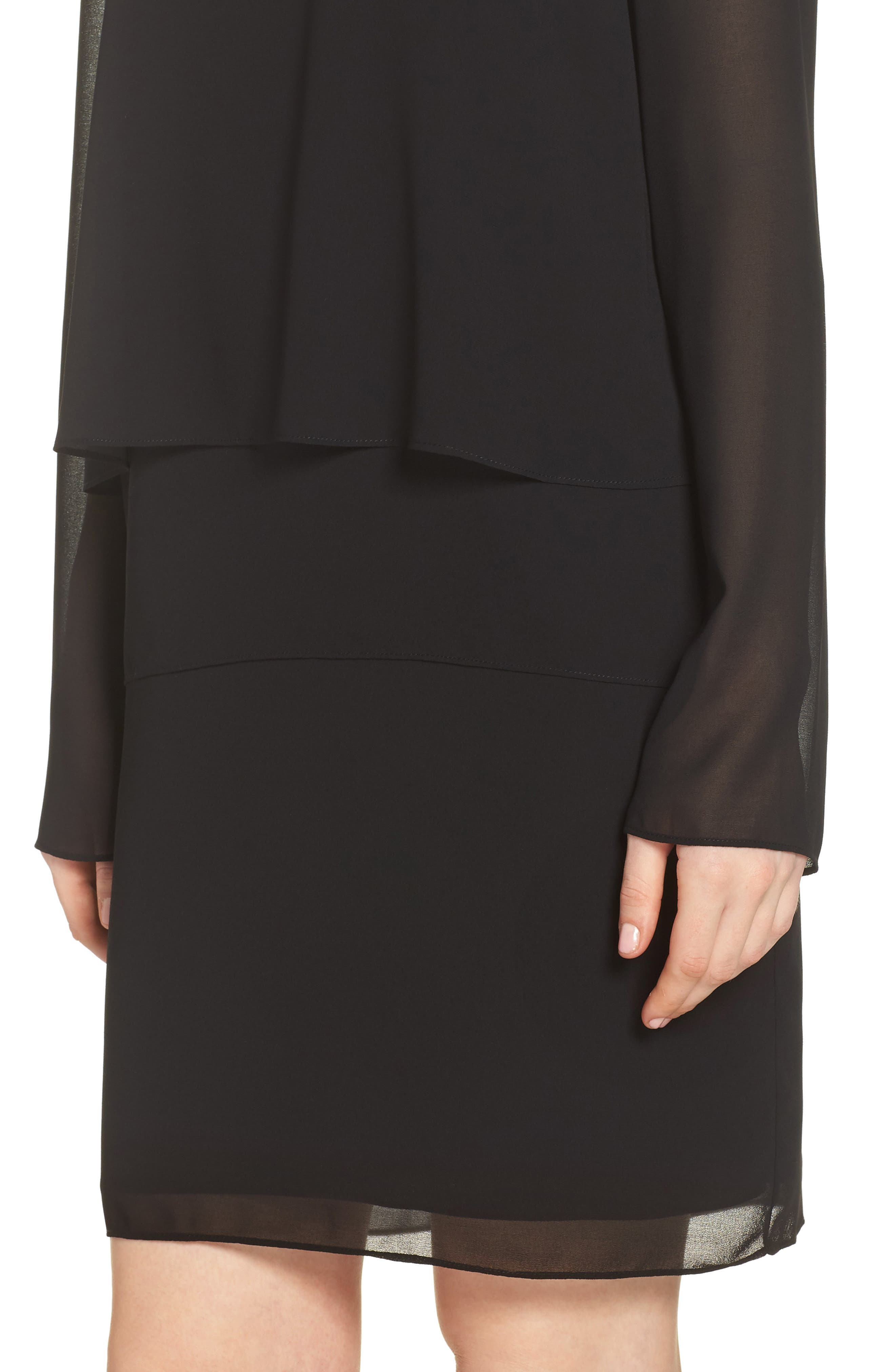 CHARLES HENRY, Layered Popover Chiffon Dress, Alternate thumbnail 5, color, 001