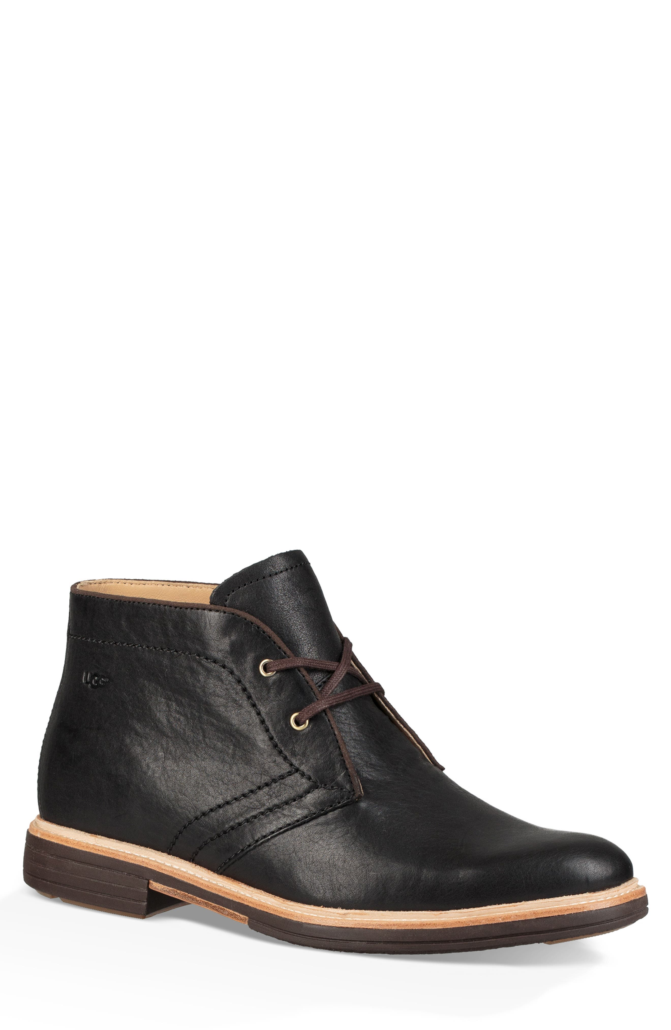 UGG<SUP>®</SUP> Australia Dagmann Chukka Boot, Main, color, BLACK LEATHER/SUEDE
